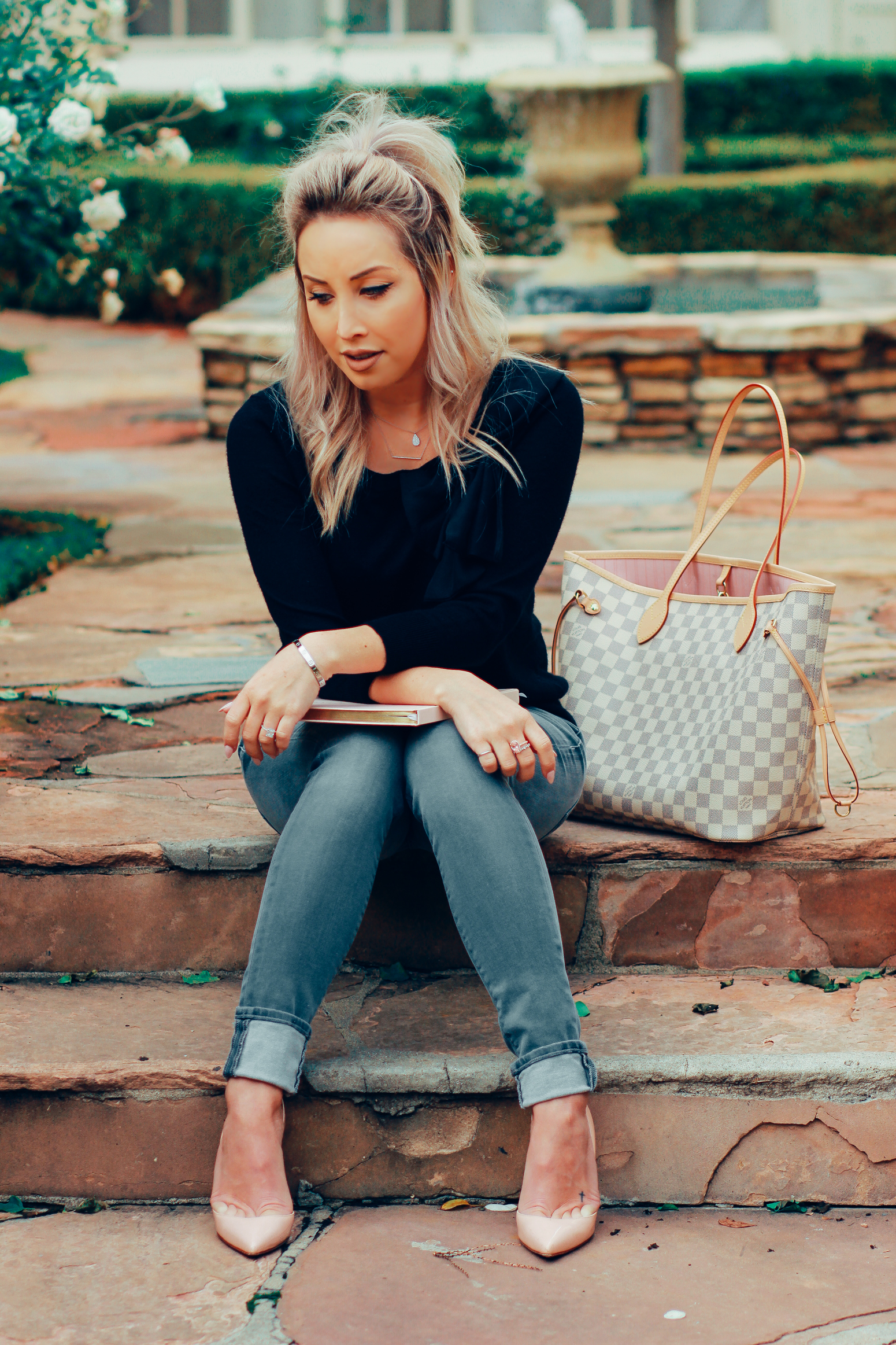 Blondie in the City | Louis Vuitton Neverfull | Hudson Jeans