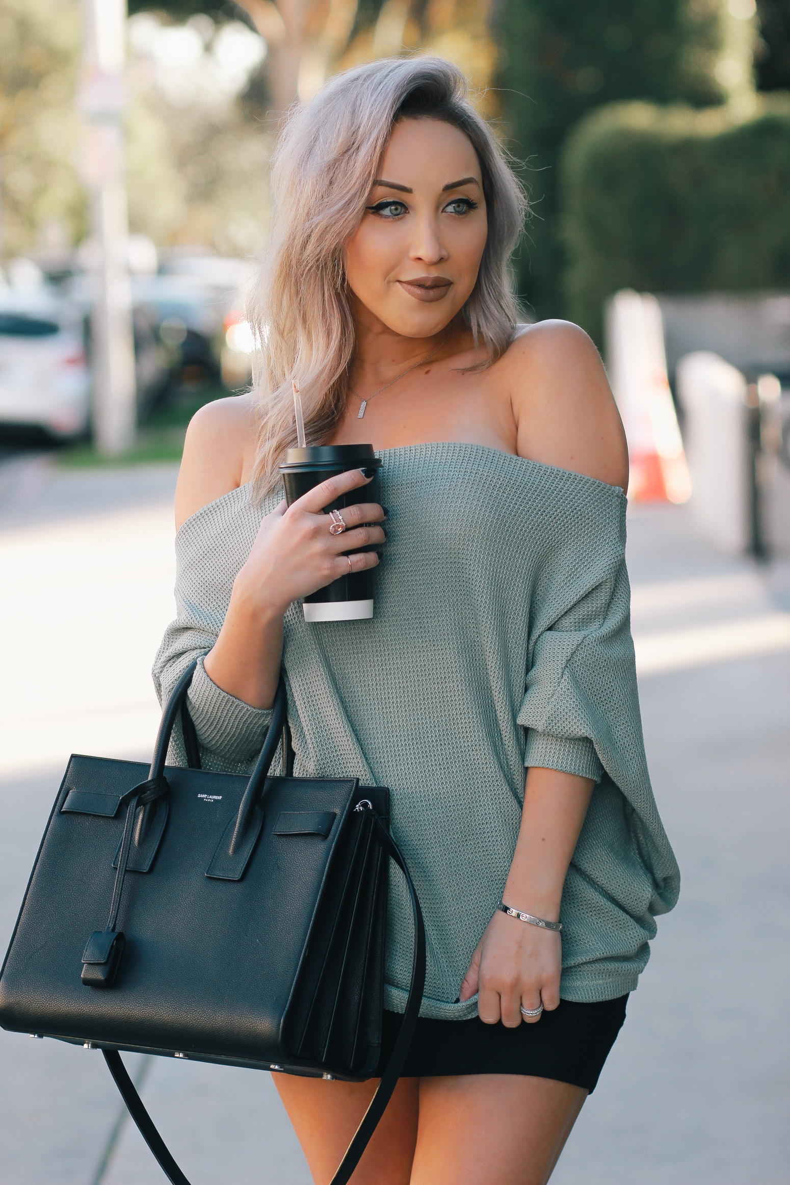 Blondie in the City | Off The Shoulder Top | YSL Bag