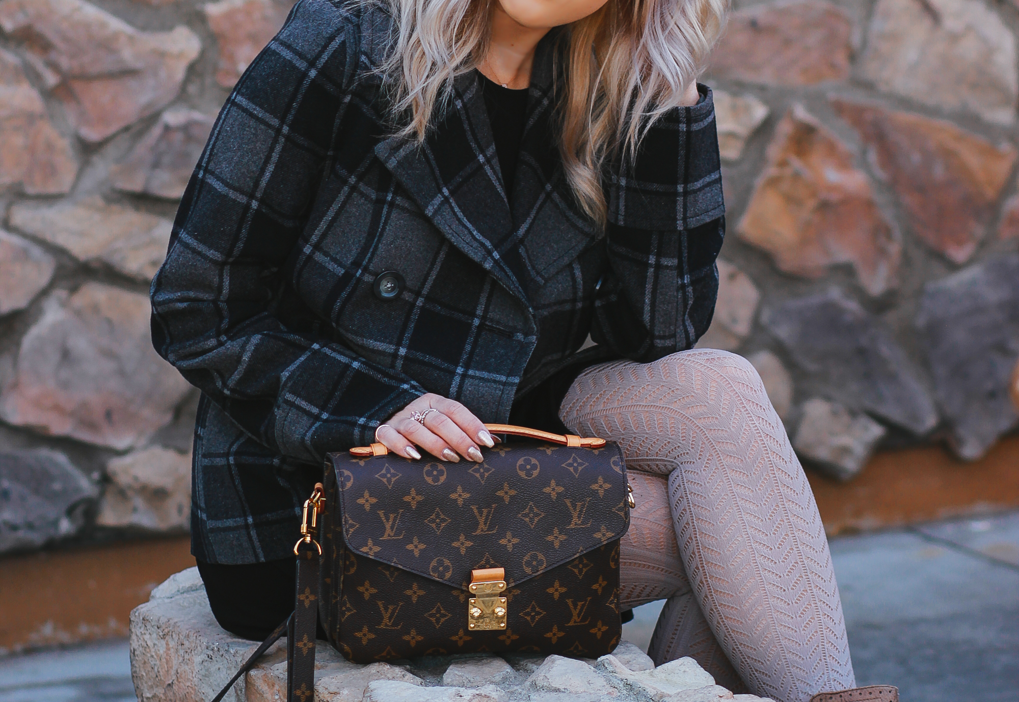 Blondie in the City | Plaid, Tights, Boots, Louis Vuitton