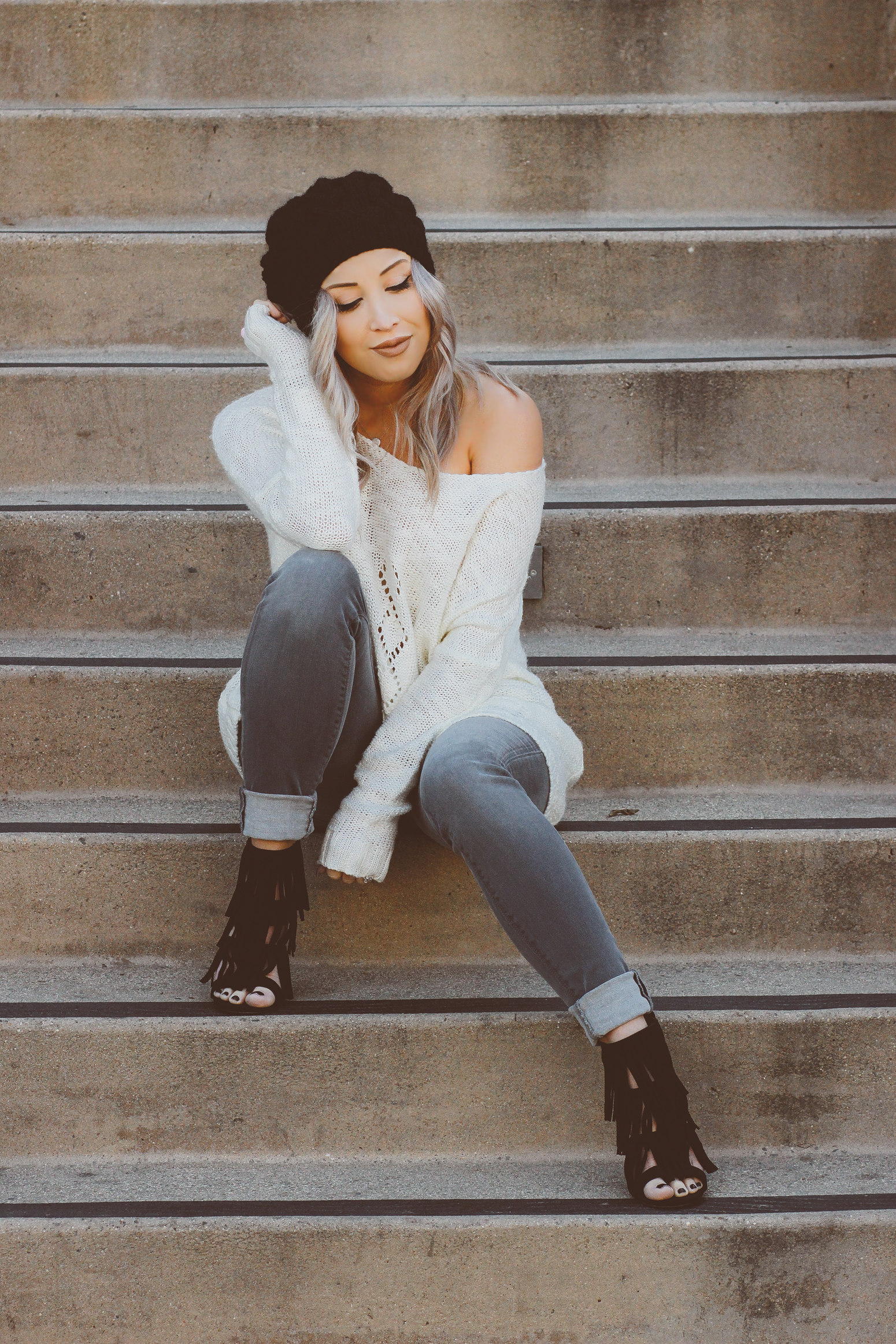 Blondie in the City | Sweater Weather | Off the Shoulder | Beanie Style | Hudson Jeans | Fringe Heels