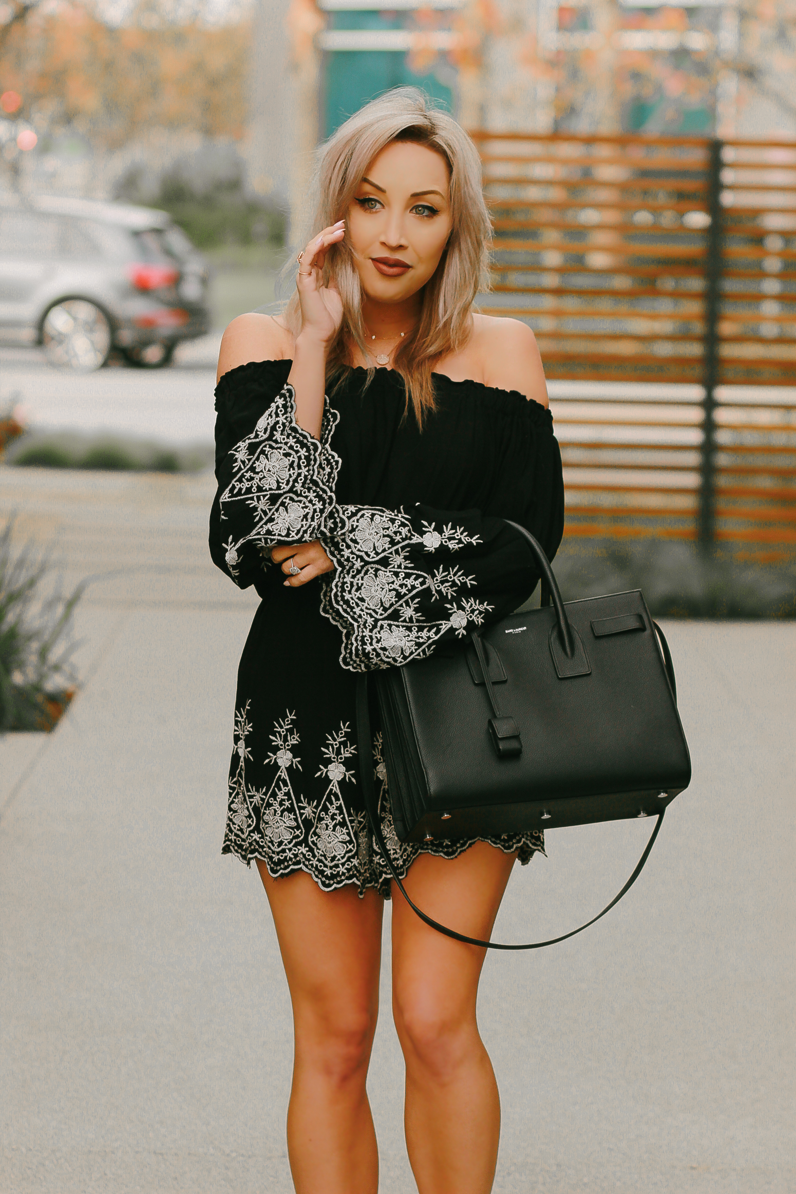Blondie in the City | @shopather Off The Shoulder Romper | Black Saint Laurent Sac De Jour Bag | YSL Bag