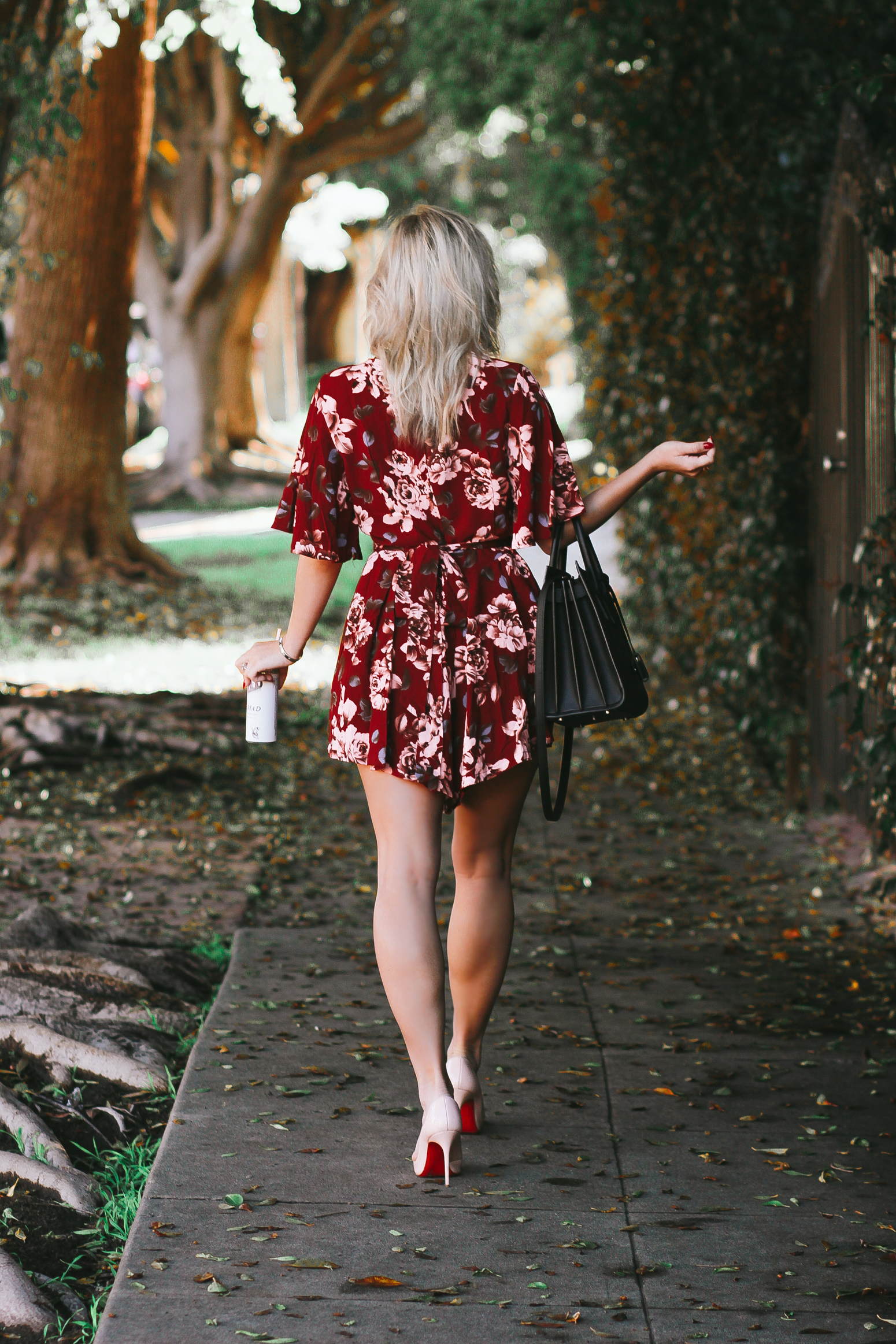 Blondie in the City | Pink Rose Romper | YSL Bag, Saint Laurent Sac De Jour | Pink Louboutin's