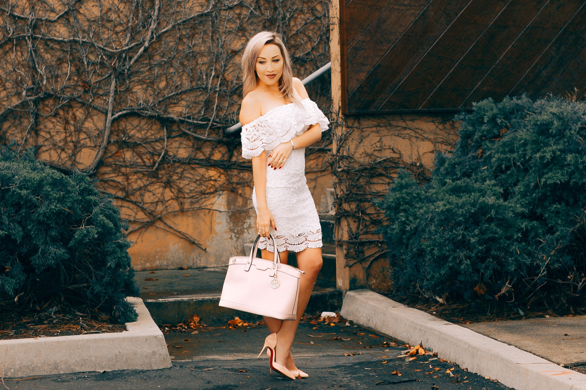 Blondie in the City | White Lace Bridal Shower Dress