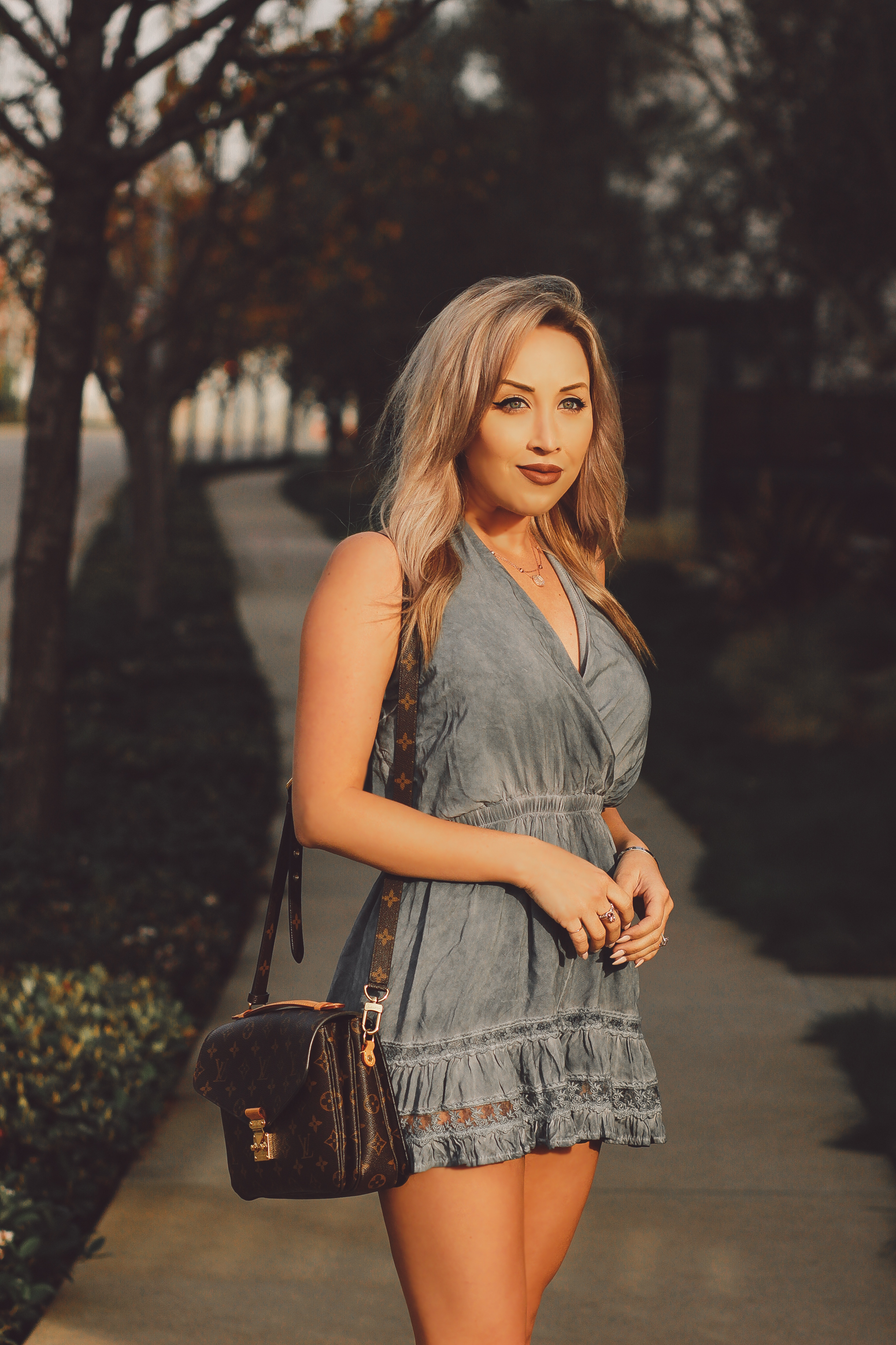 Blondie in the City | Blue Boho Romper | Louis Vuitton Pochette Metis