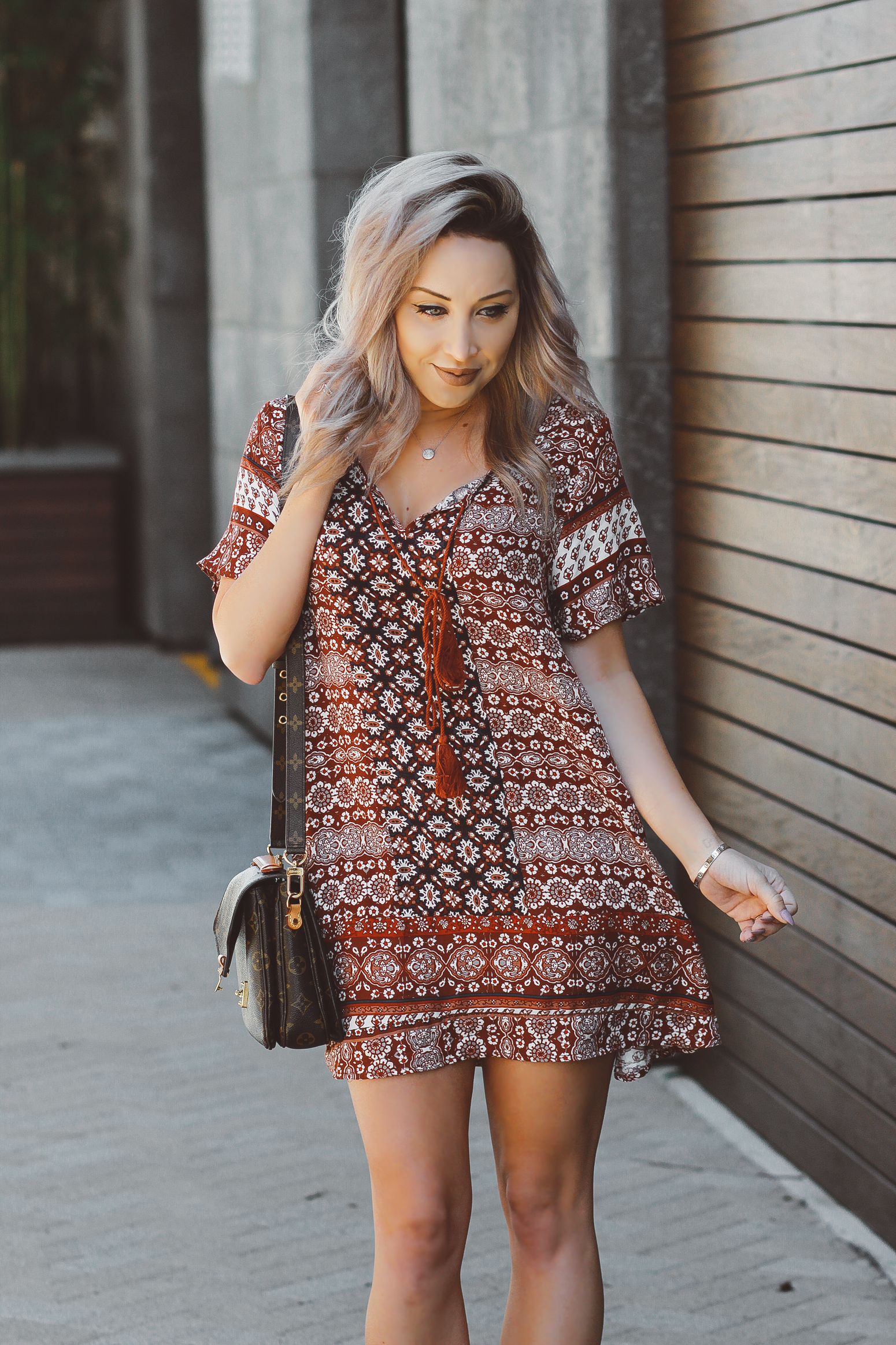 Blondie in the City  |  Flowy Spring & Summer Dress | Louis Vuitton Pochette Metis Bag
