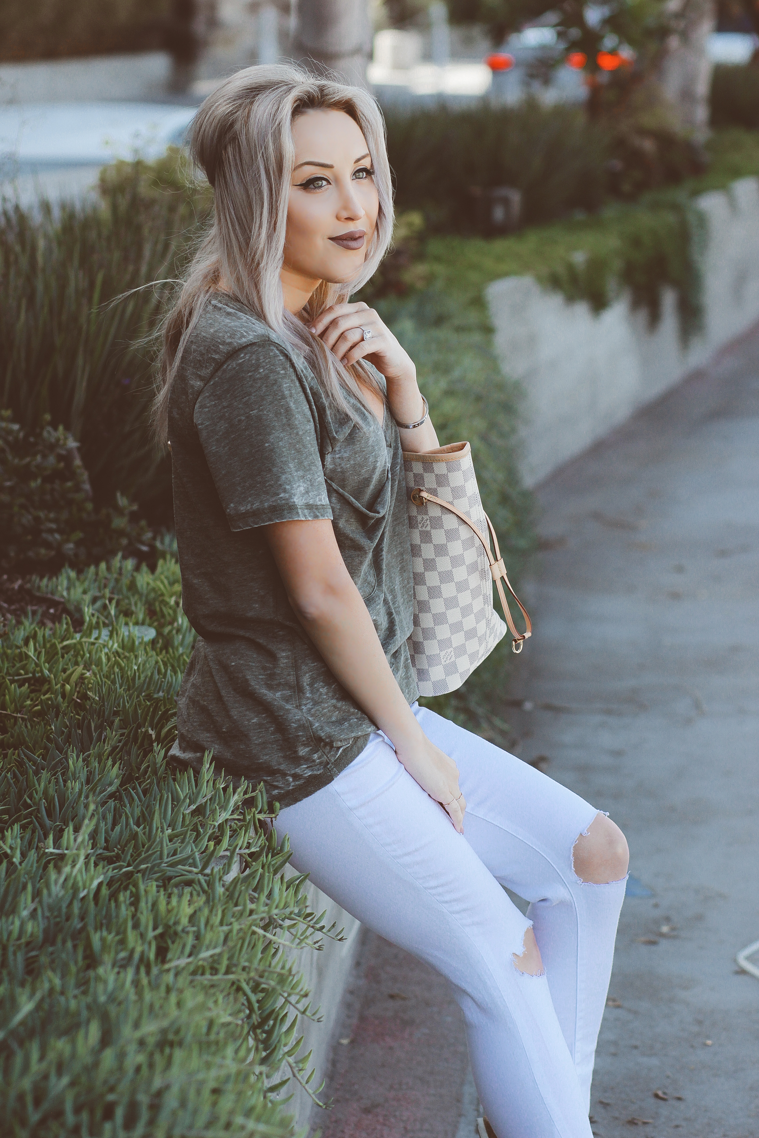 Blondie in the City | Ripped White Jeans & an Olive Green Tee @shopather | White Birkenstocks | Louis Vuitton Bag