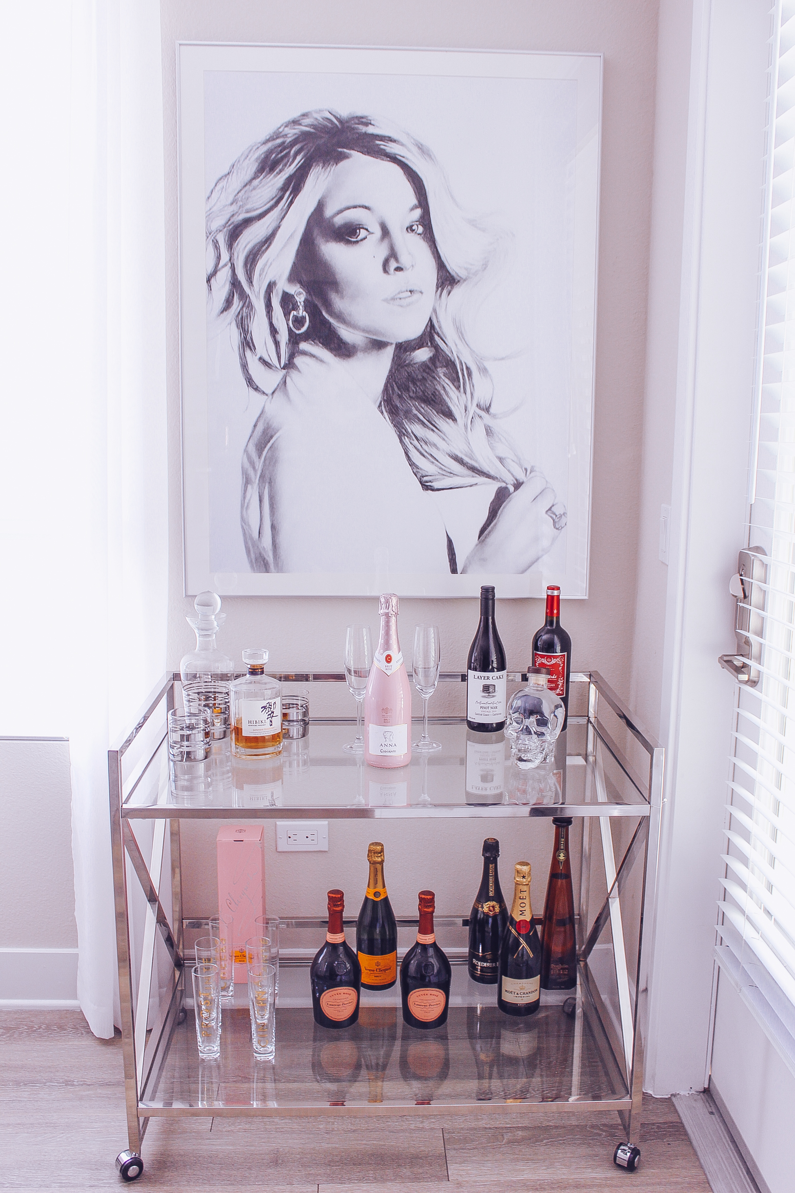 Blondie in the City Decor | Bar Cart Styling w/ @Livingspaces | Blake Lively Print @fineartamerica | Chic Bar Cart | Metallic Bar Cart
