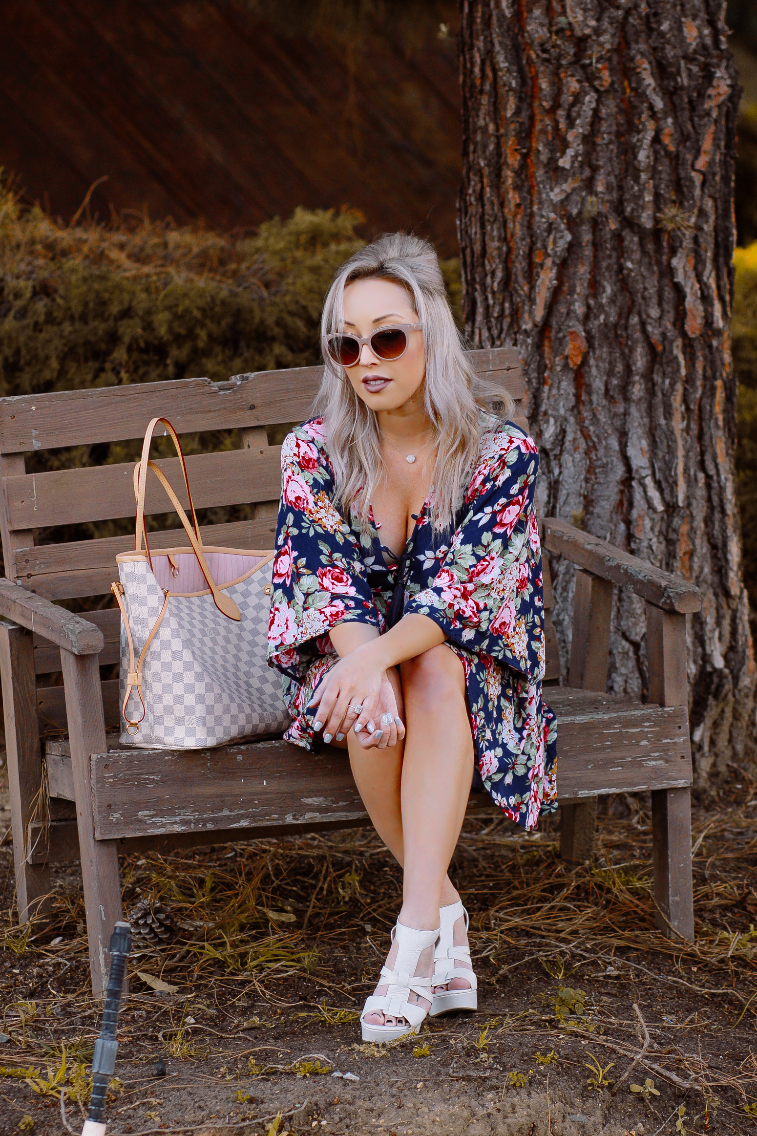 Blondie in the City | Pink & Blue Floral Spring Dress | Balenciaga Sunglasses | Louis Vuitton Neverfull Bag