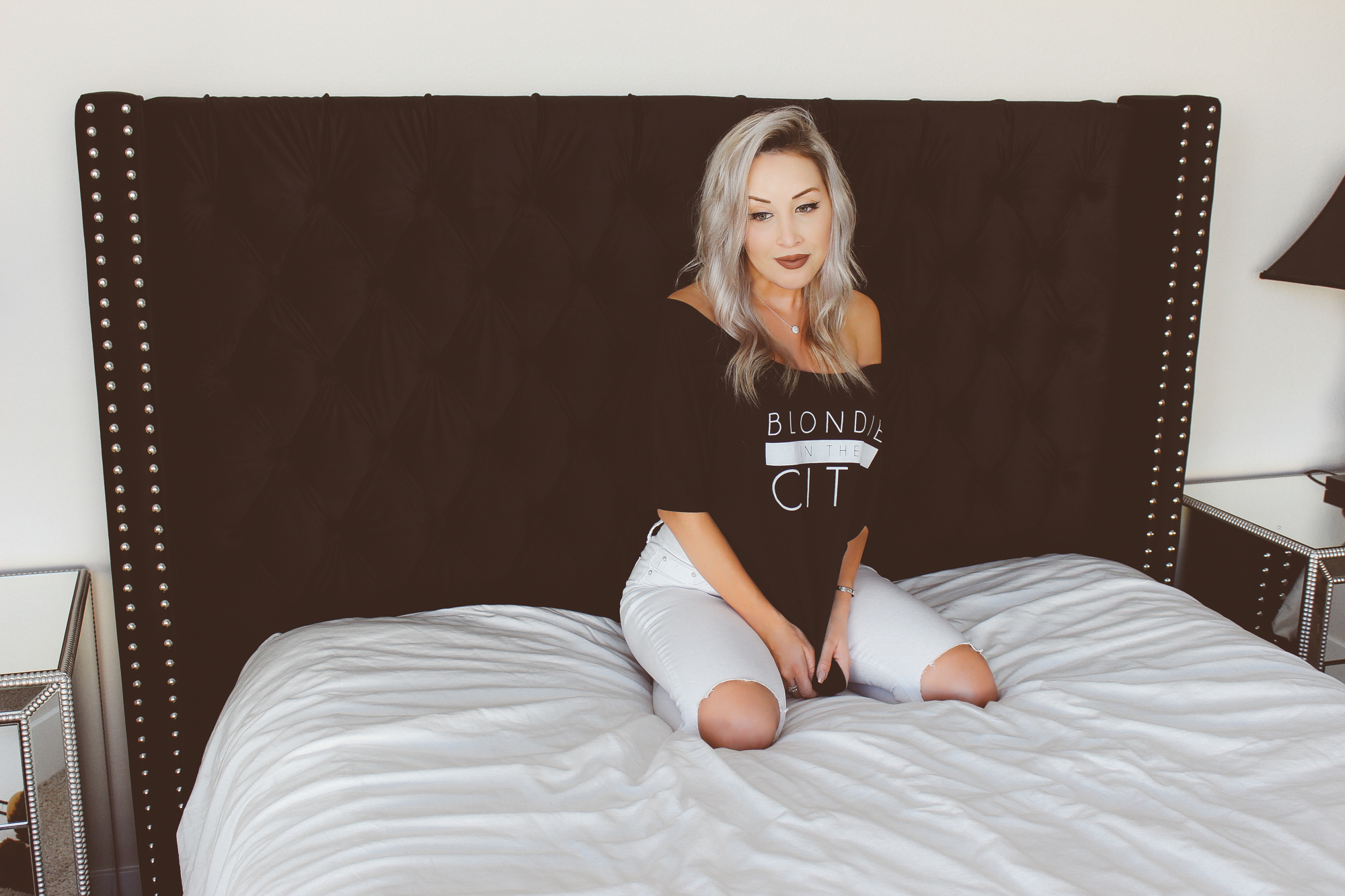 Blondie in the City | Black Velvet Tufted Headboard | Blondie T Shirt