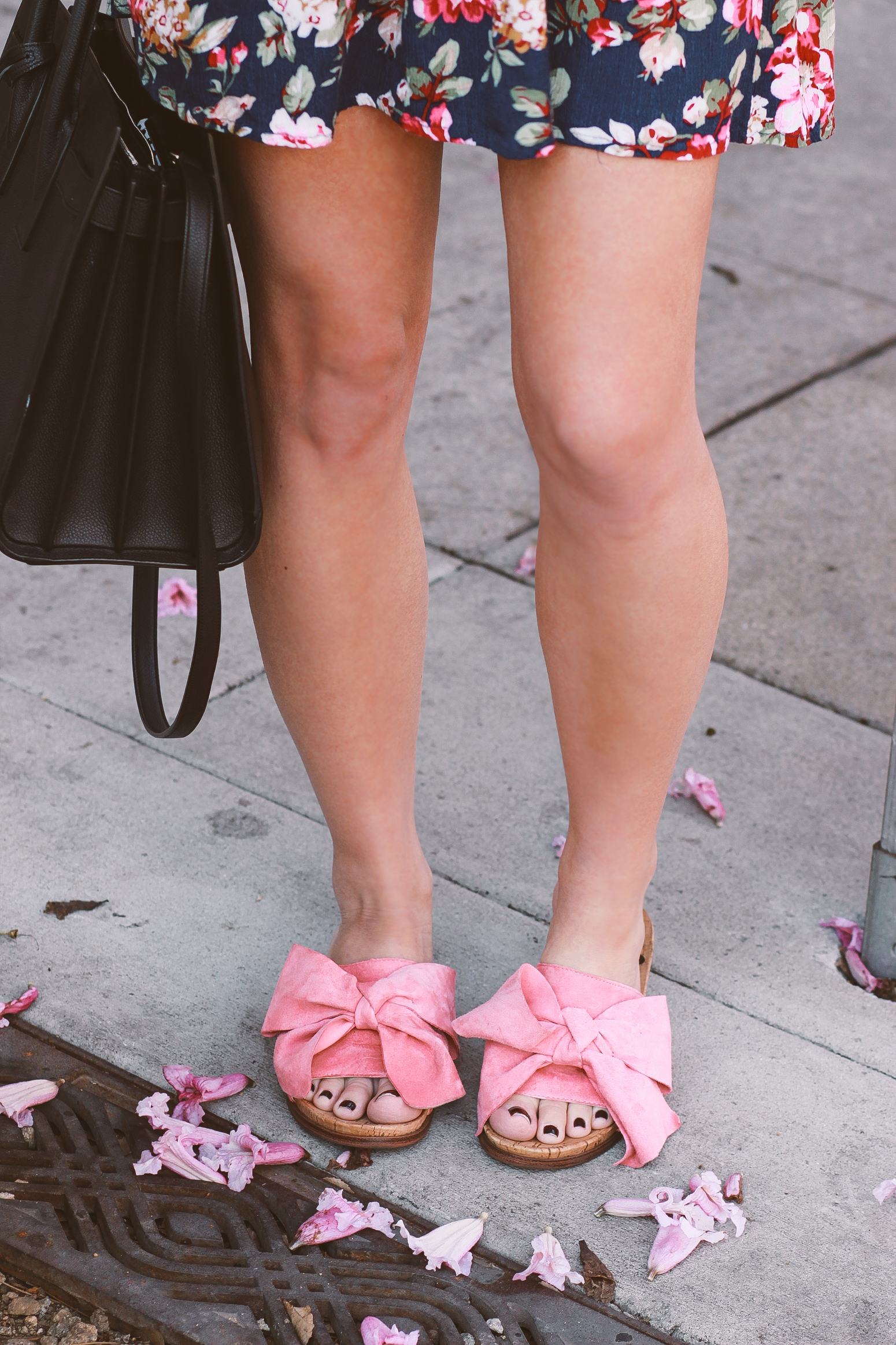 Blondie in the City | Floral Spring Dress | Sam Edelman Sandals |Pink Bow Shoes | YSL Bag