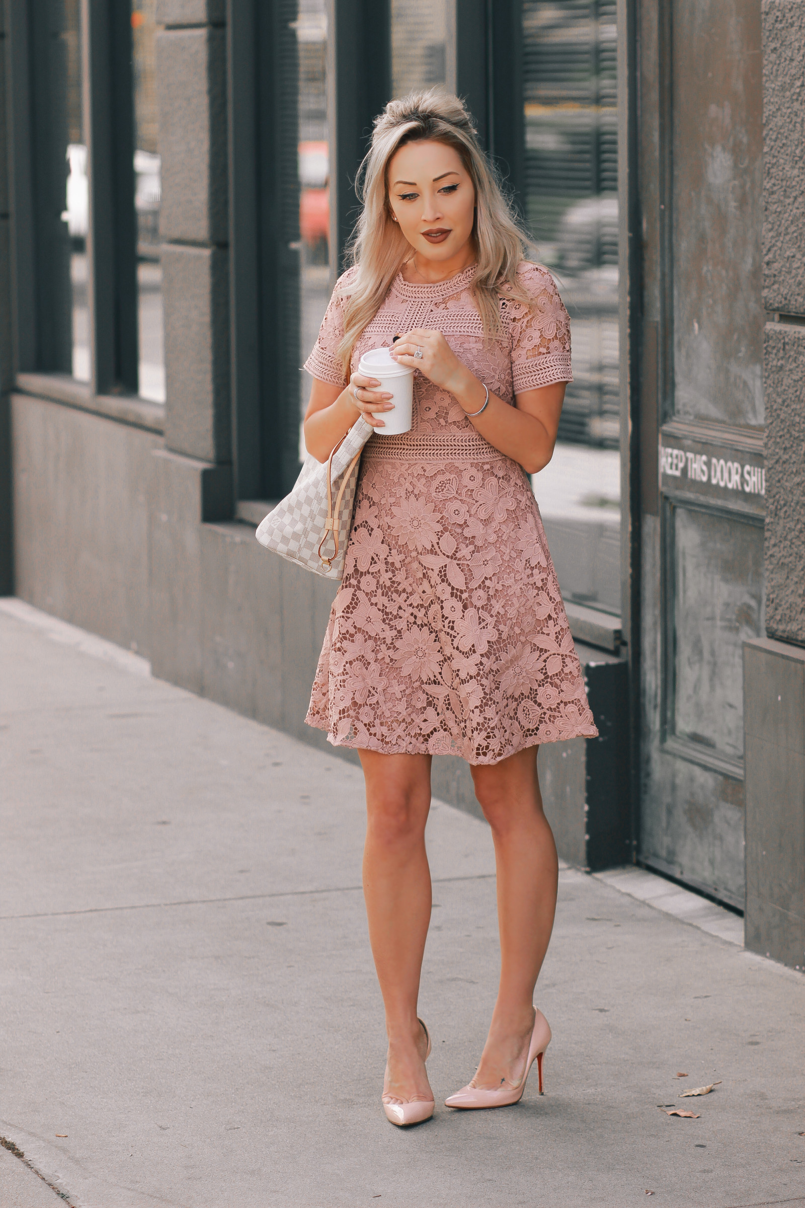 Blondie in the City   Pretty Pink Spring Dress   Louis Vuitton Neverfull   Pink Louboutin's