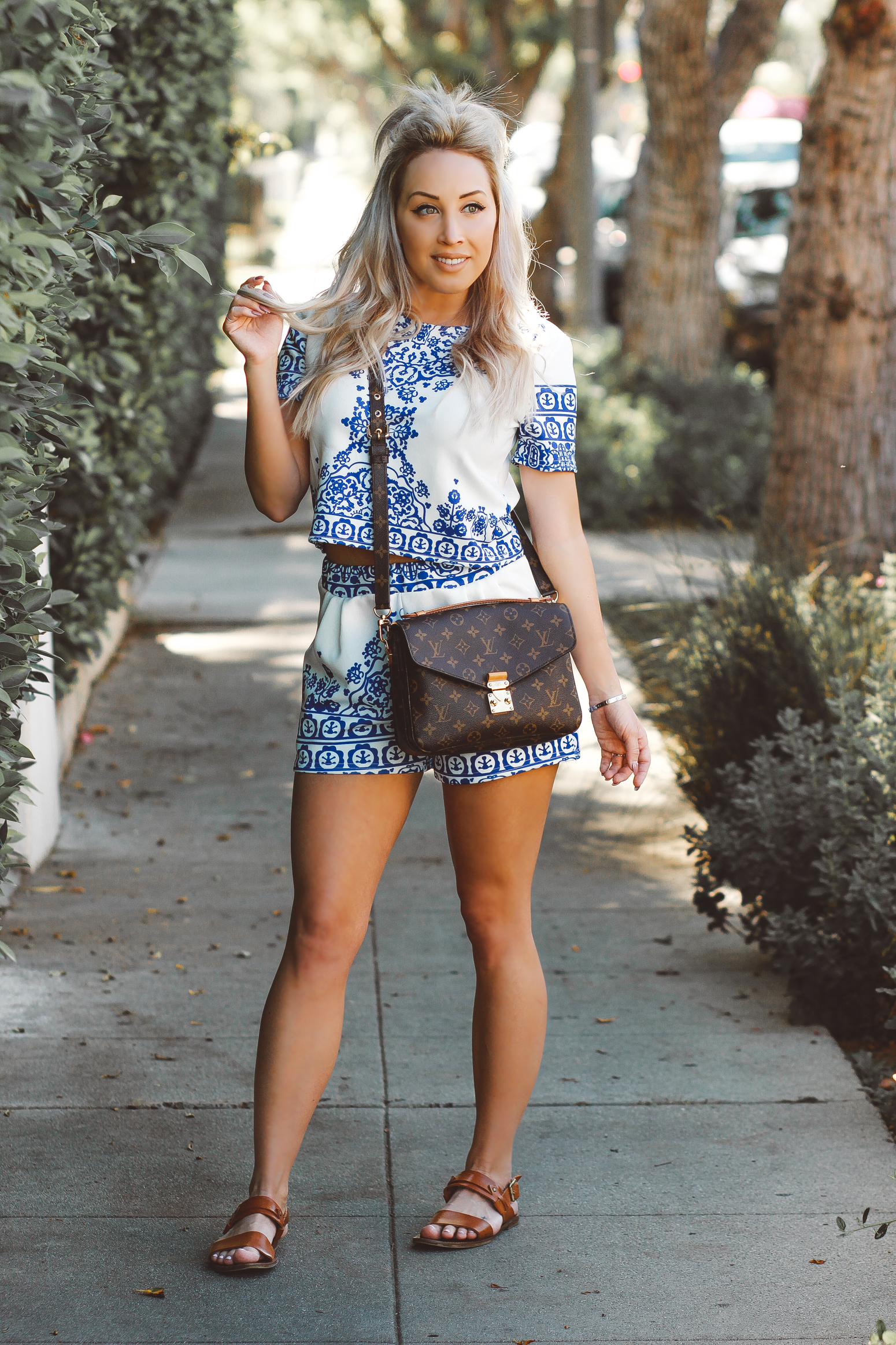 Blondie in the City  |  Porcelain Print Two-Piece Outfit  |  Louis Vuitton Pochette Metis