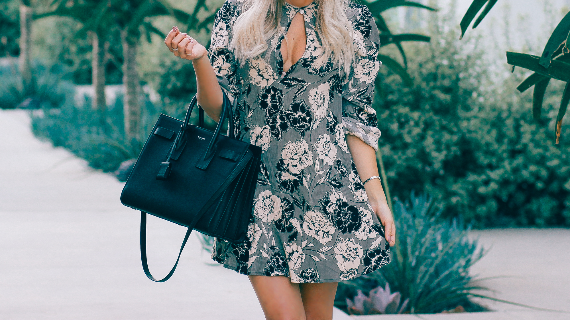 Blondie in the City | Vintage Rose Dress @shopather | YSL Bag