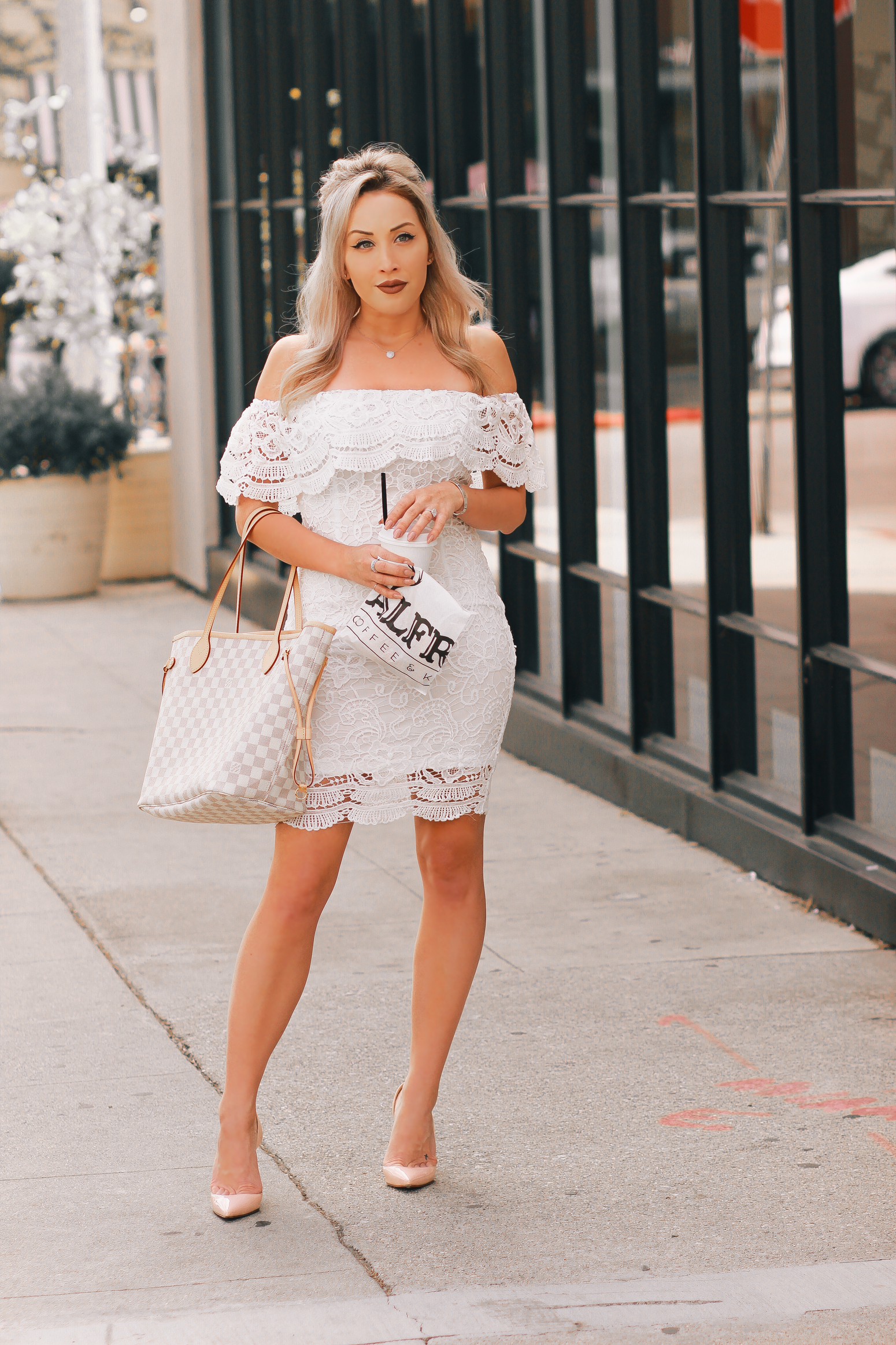Blondie in the City | White Lace & Louis Vuitton