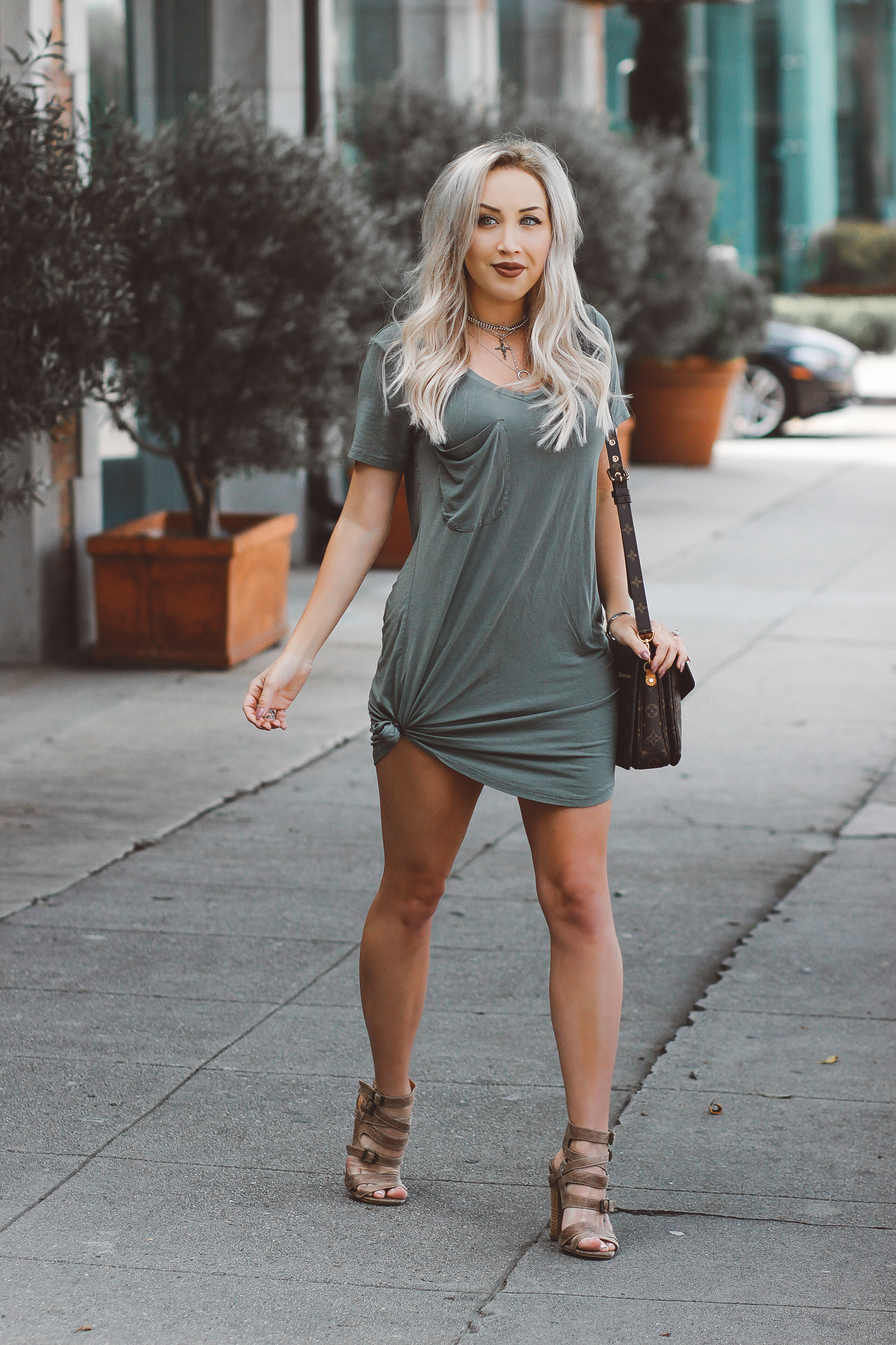 Blondie in the City | Green T-Shirt Dress @shopather | Louis Vuitton Pochette metis | Bohemian Jewelry @shopdixi
