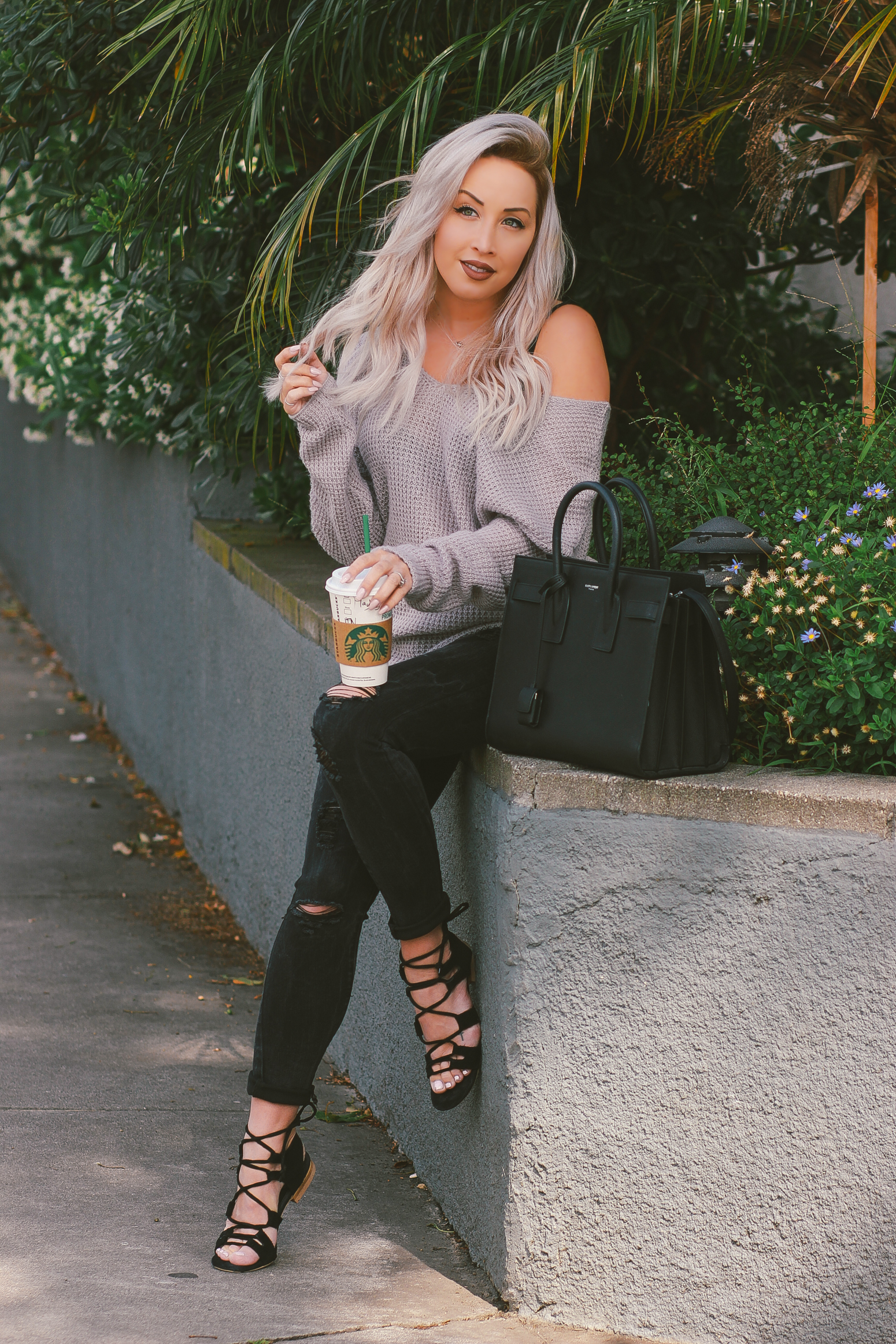Blondie in the City | Slouchy Sweater | Black YSL Bag | Saint Laurent