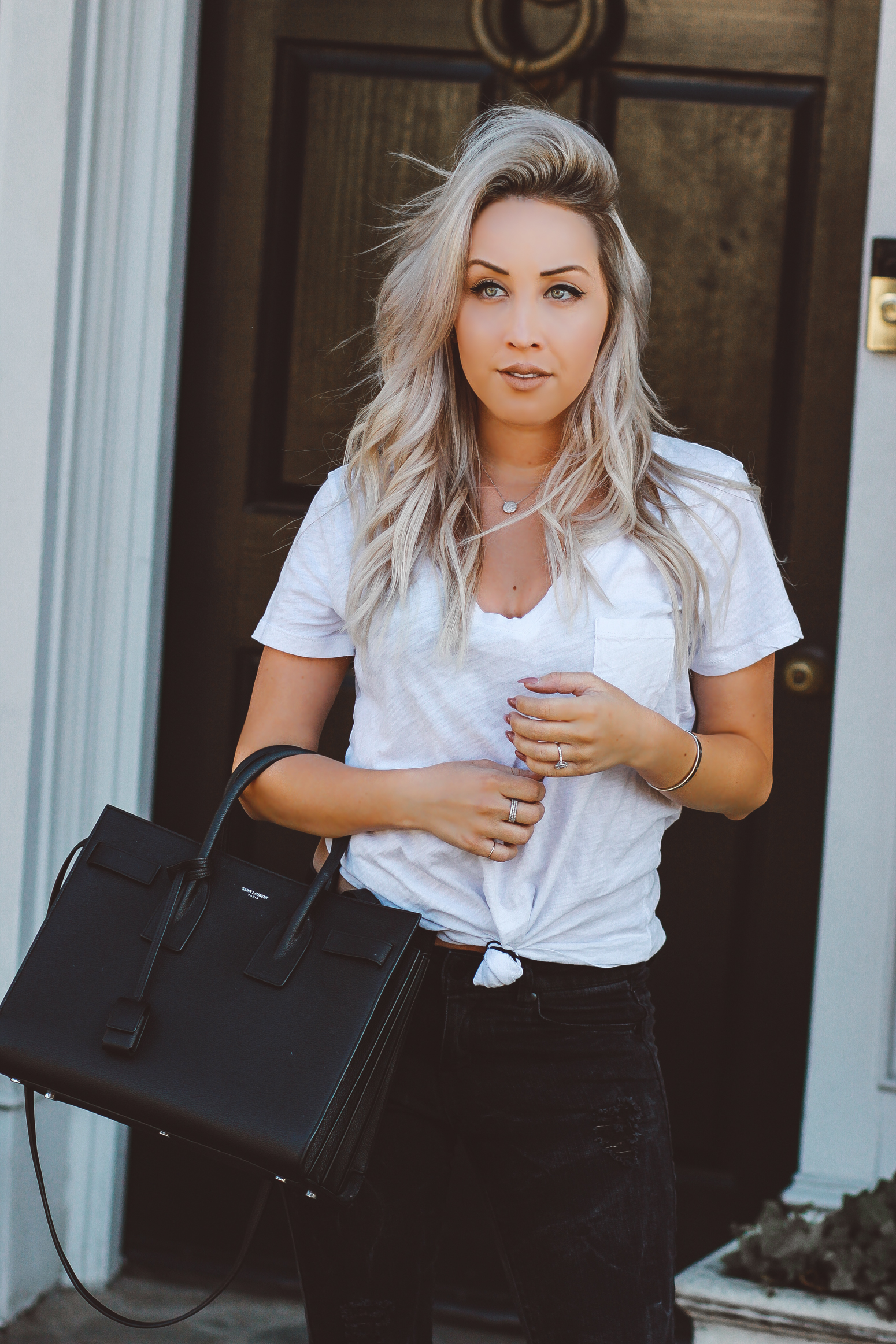 Blondie in the City | YSL Bag | Saint Laurent Sac De Jour Bag | Pink Shoes