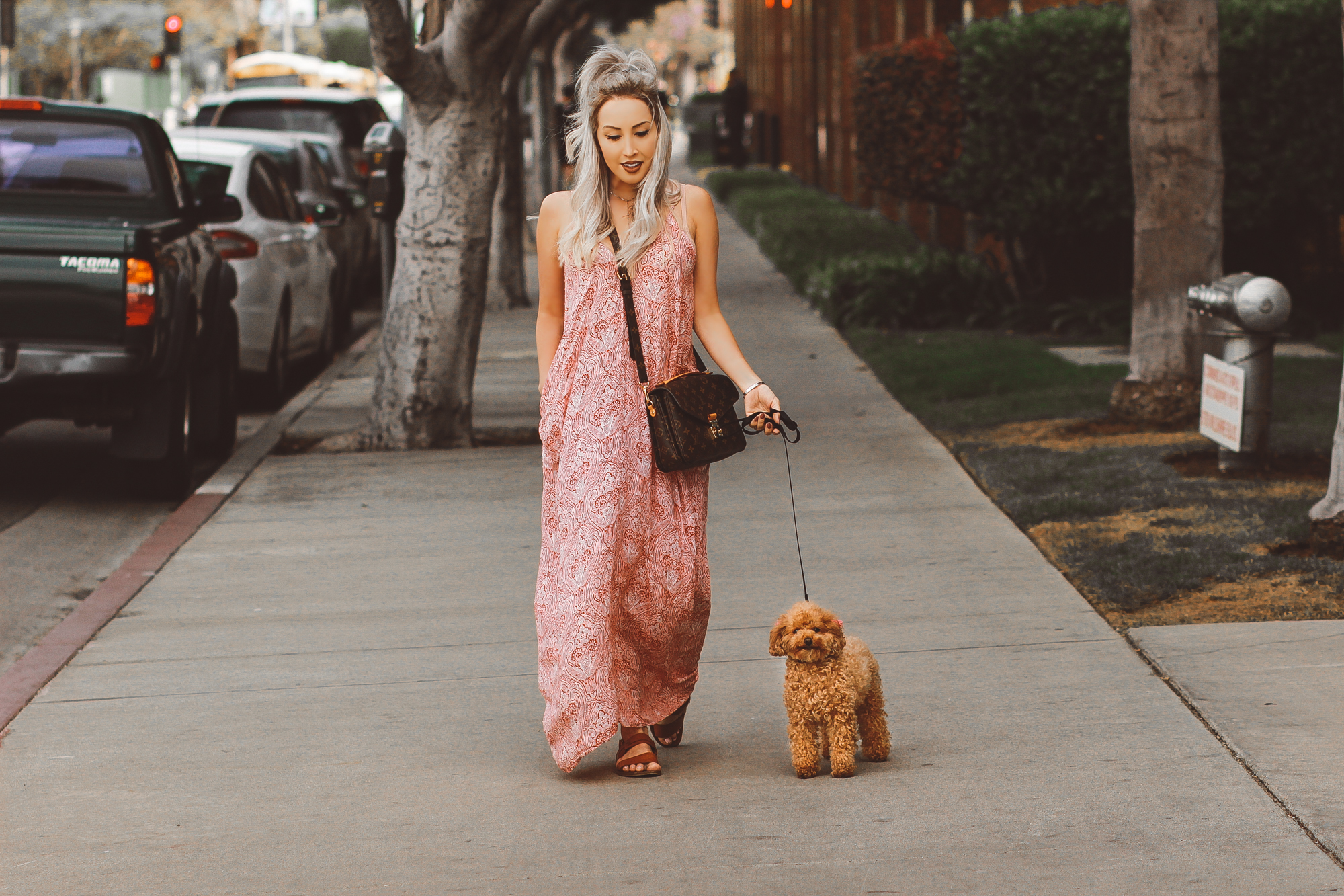 Blondie in the City | Spring Maxi Dress @herboutique | Louis Vuitton Pochette Metis