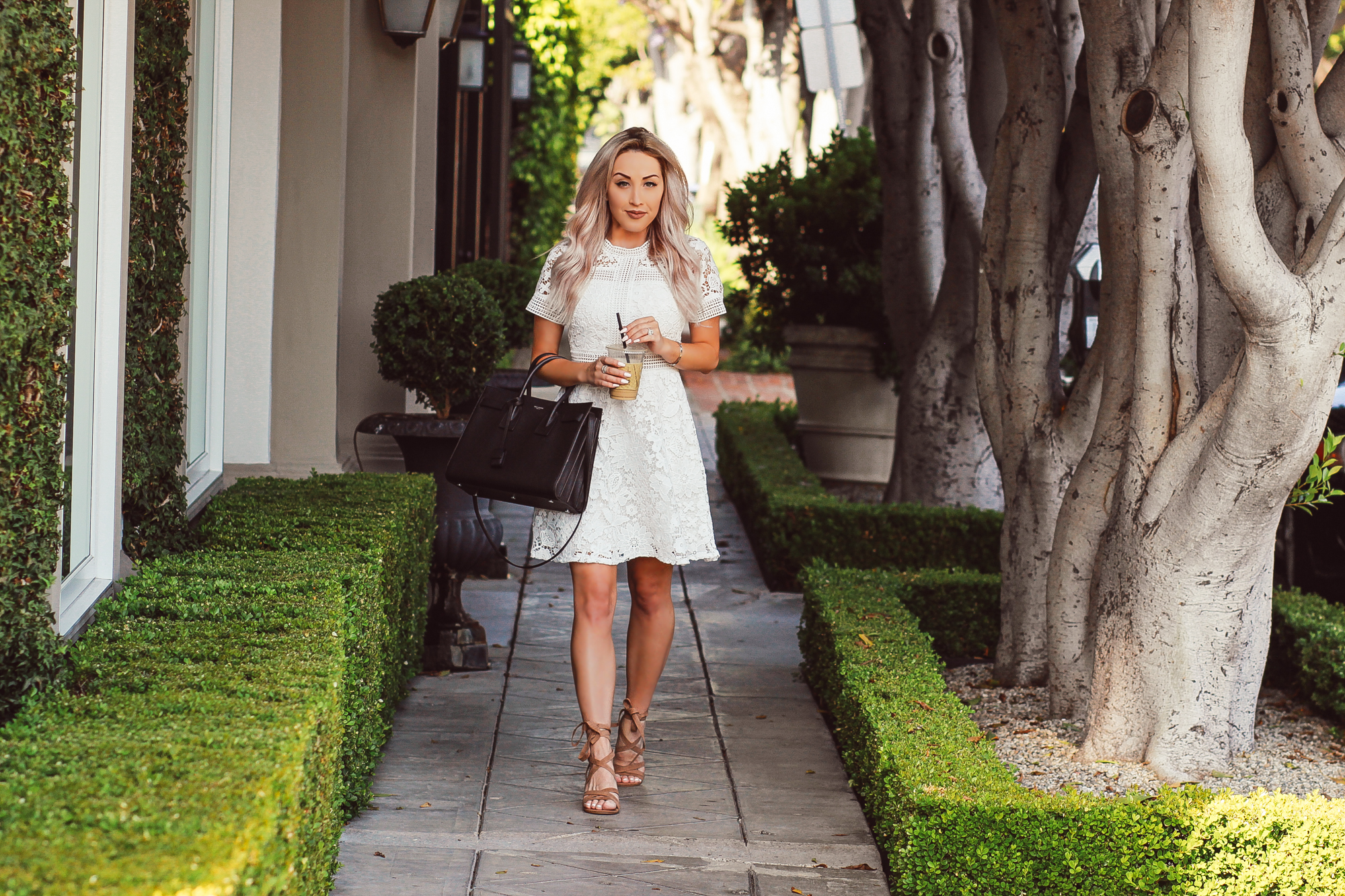 Blondie in the City | White Lace Bridal Shower Dress @chiciwsh | YSL Bag | Saint Laurent Sac De Jour Bag