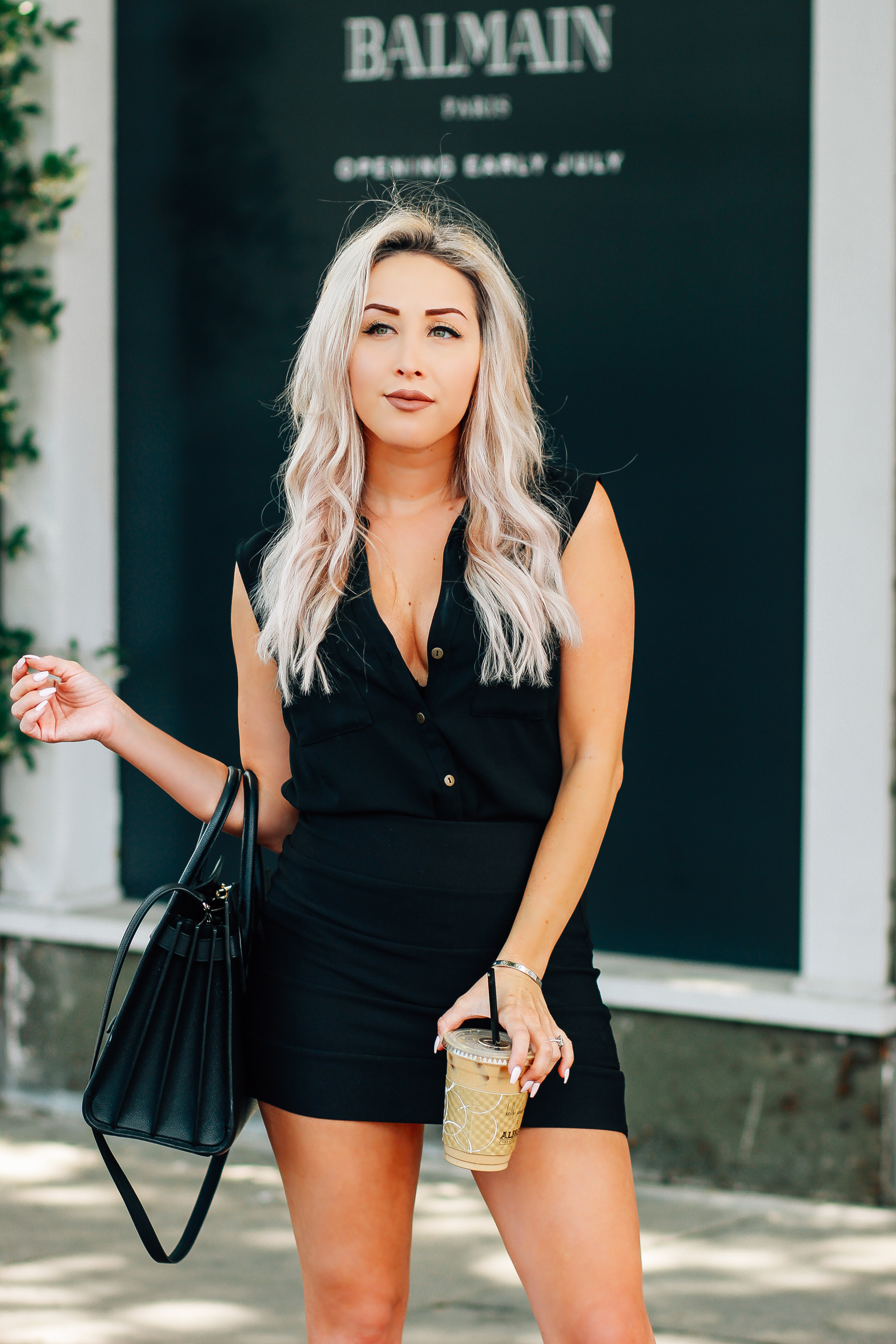 Blondie in the City | Black & Taupe Attire | YSL Bag | Black Saint Laurent Sac De Jour Bag