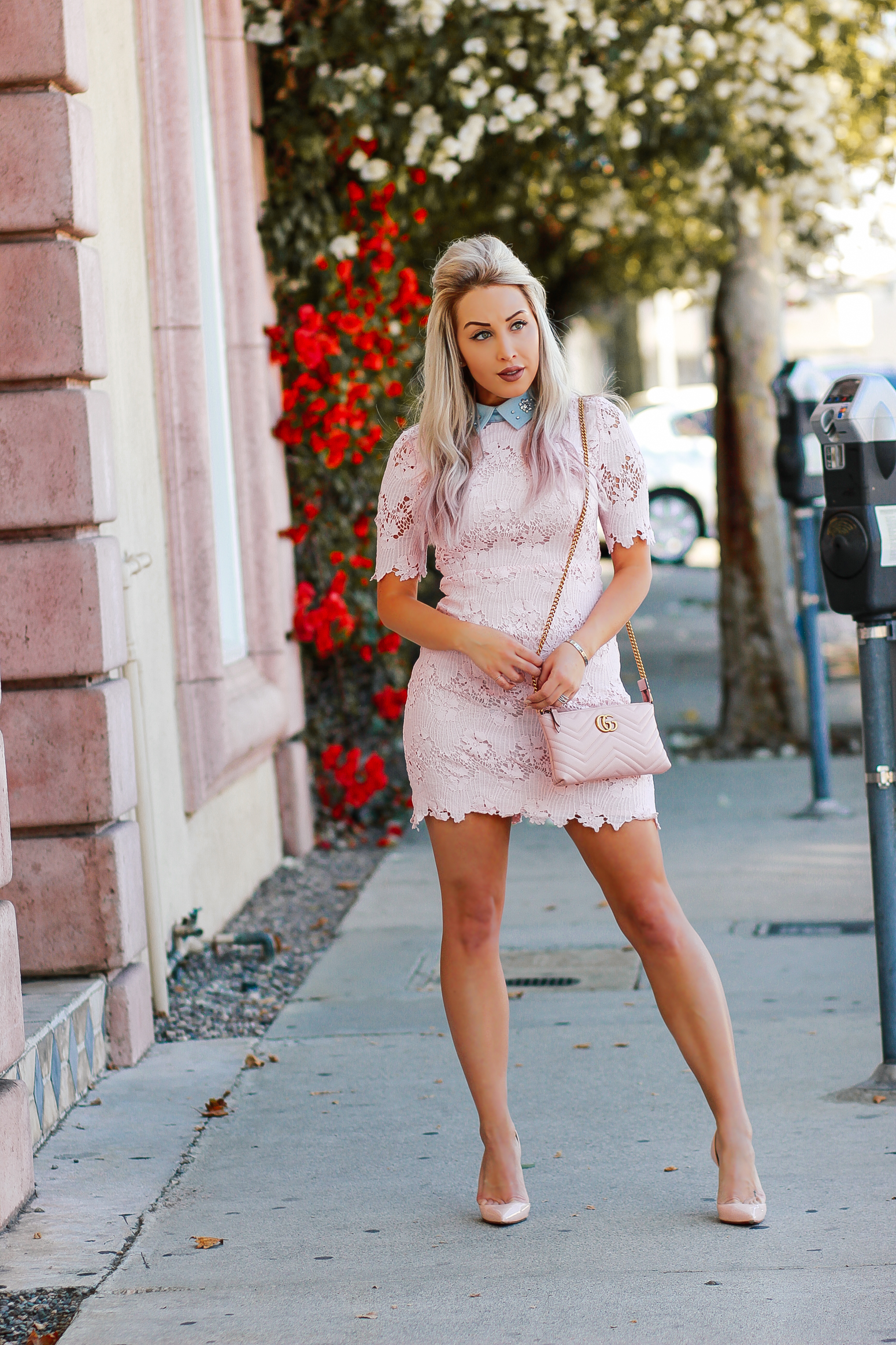 Blondie in the City | Gossip Girl/Blair Waldorf Vibes | Pink & Blue Pastel Lace Dress | Pink Christian Louboutin's