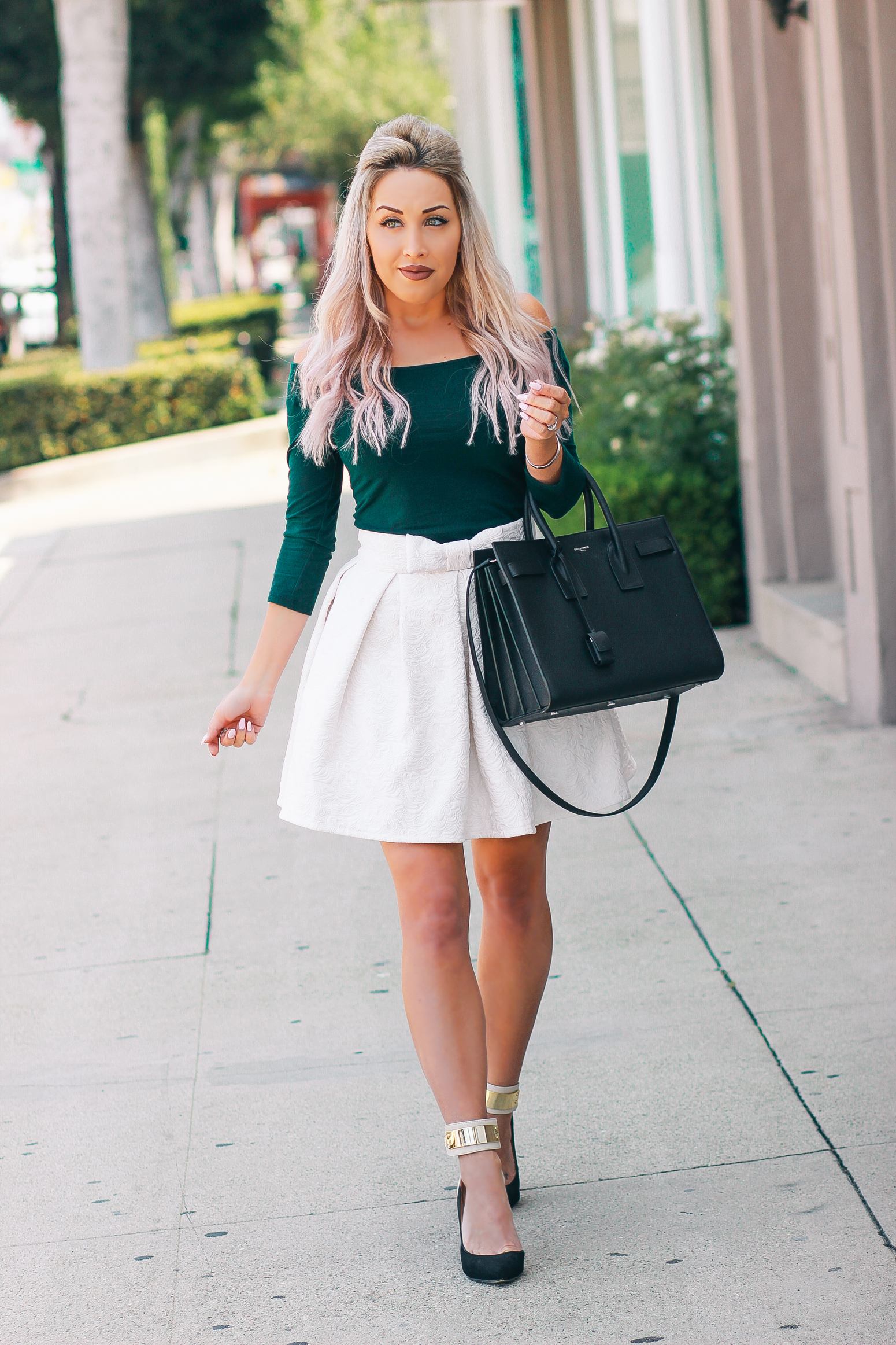 Blondie in the City | Forest Green & Ivory Lace | Chic Street Style Fashion