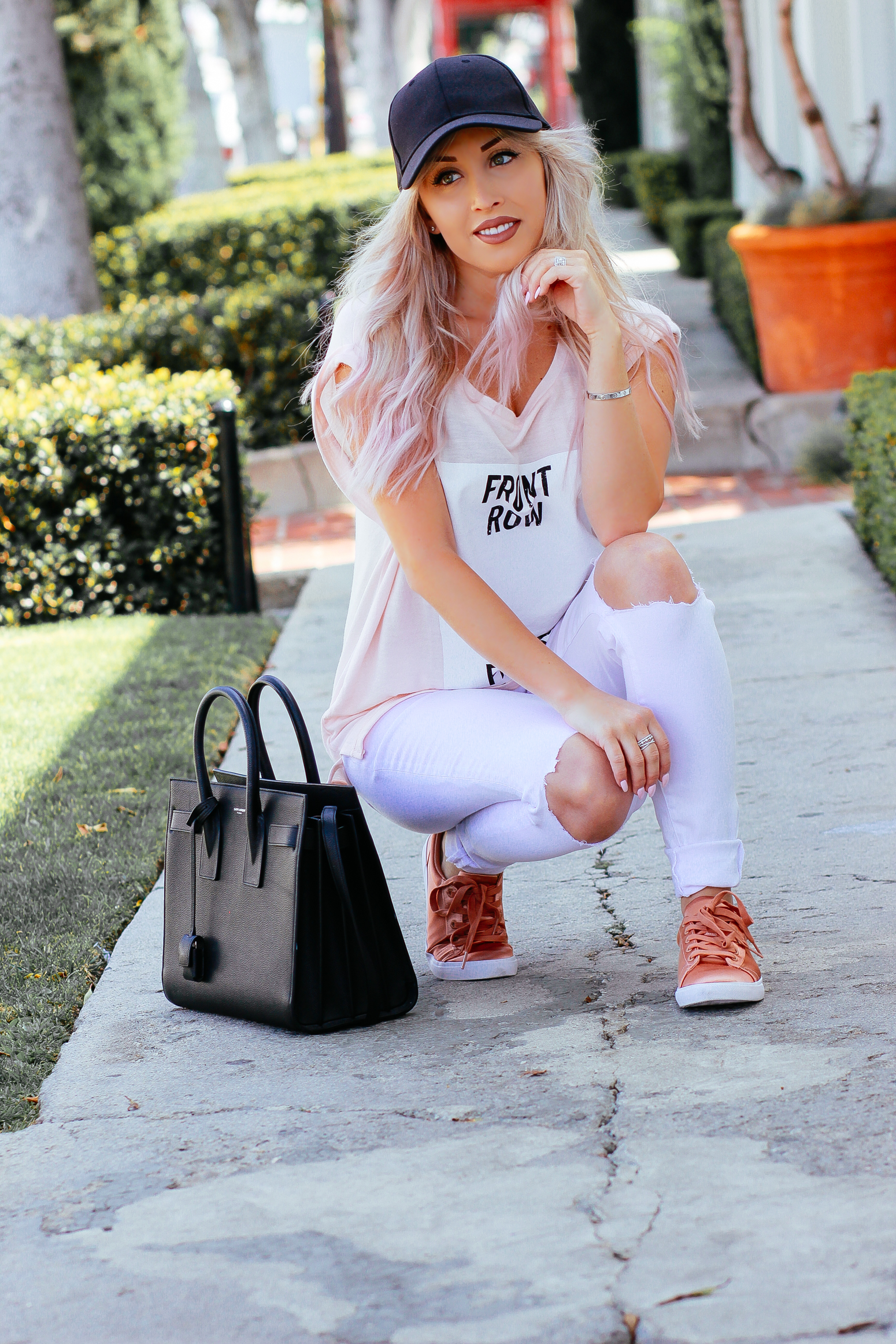 Blondie in the City | Front Row Fashion Blogger | Pastel Hair | Pink & White Outfit | YSL Bag