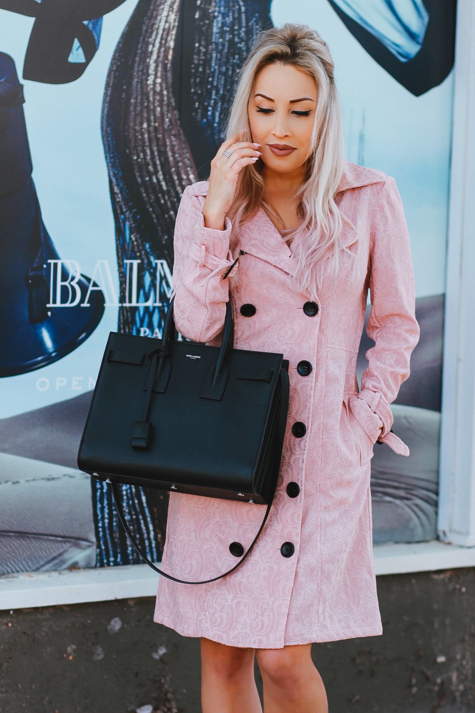 Blondie in the City |Pink Trench Coat | Pink Velvet Boots | Black YSL Bag