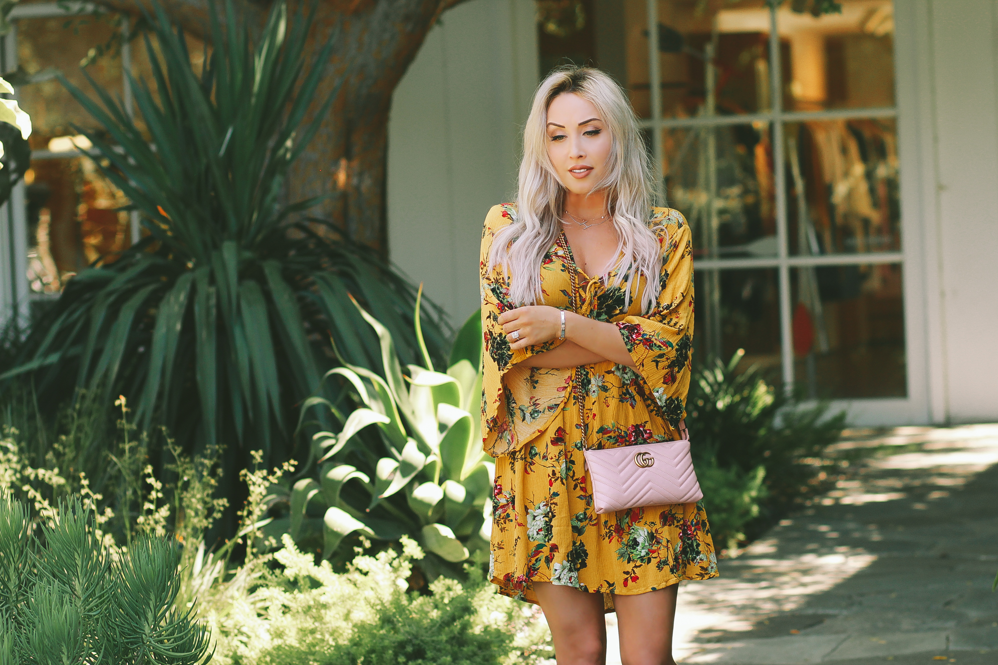 Blondie in the City | Mustard Yellow & A Pink Gucci Bag