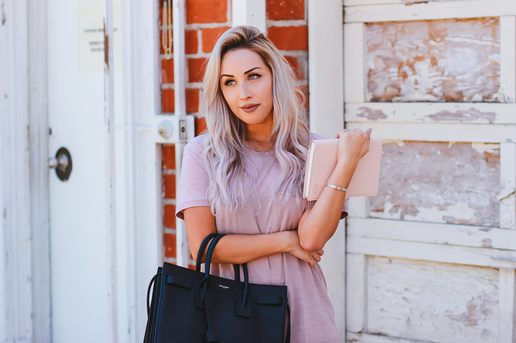 Blondie in the City | Pink Men's Tee from Urban Outfitters as T-Shirt Dress | YSL Bag