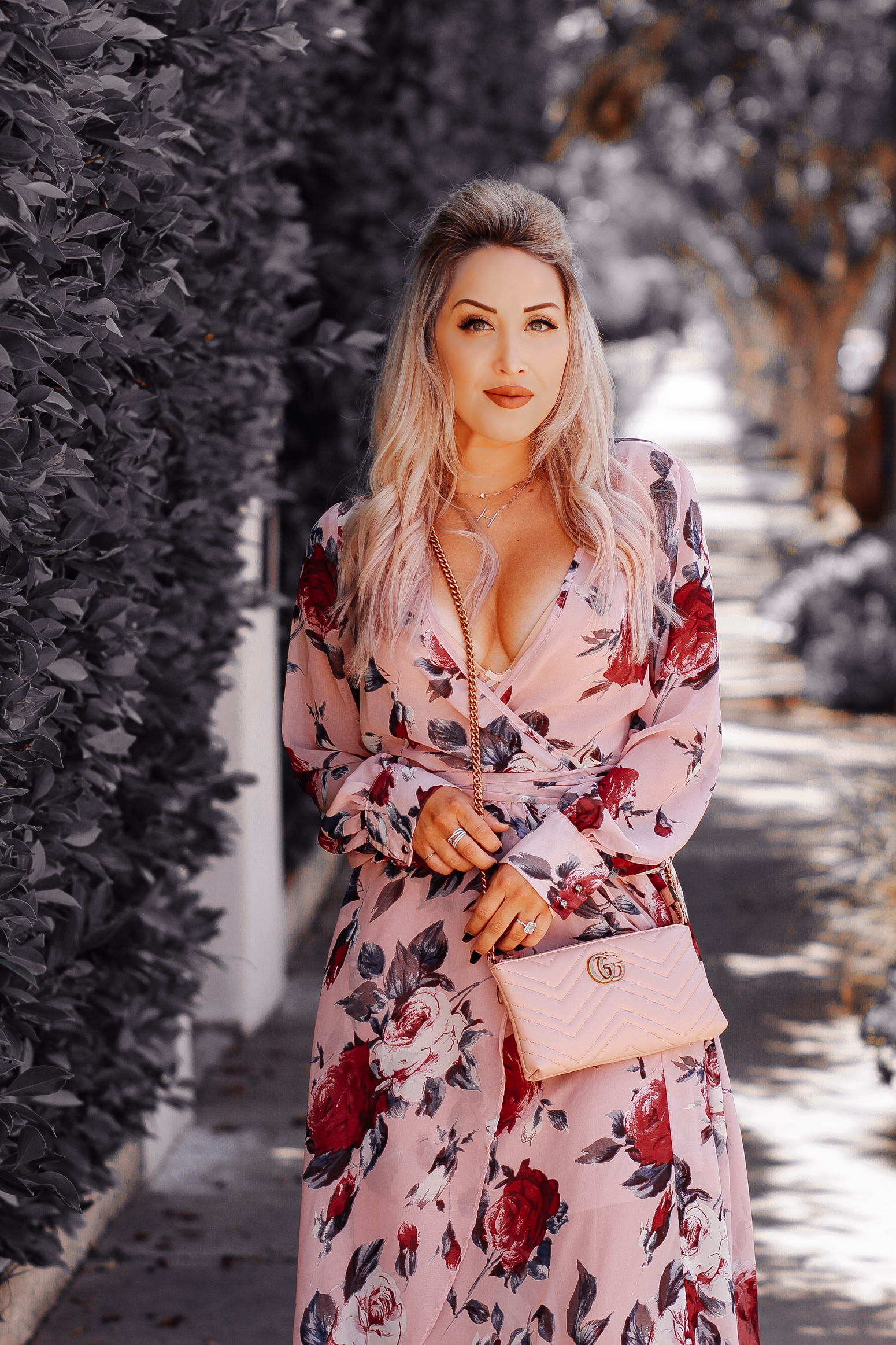 Blondie in the City | Pink & Rose Chiffon Dress | Pink Gucci Bag