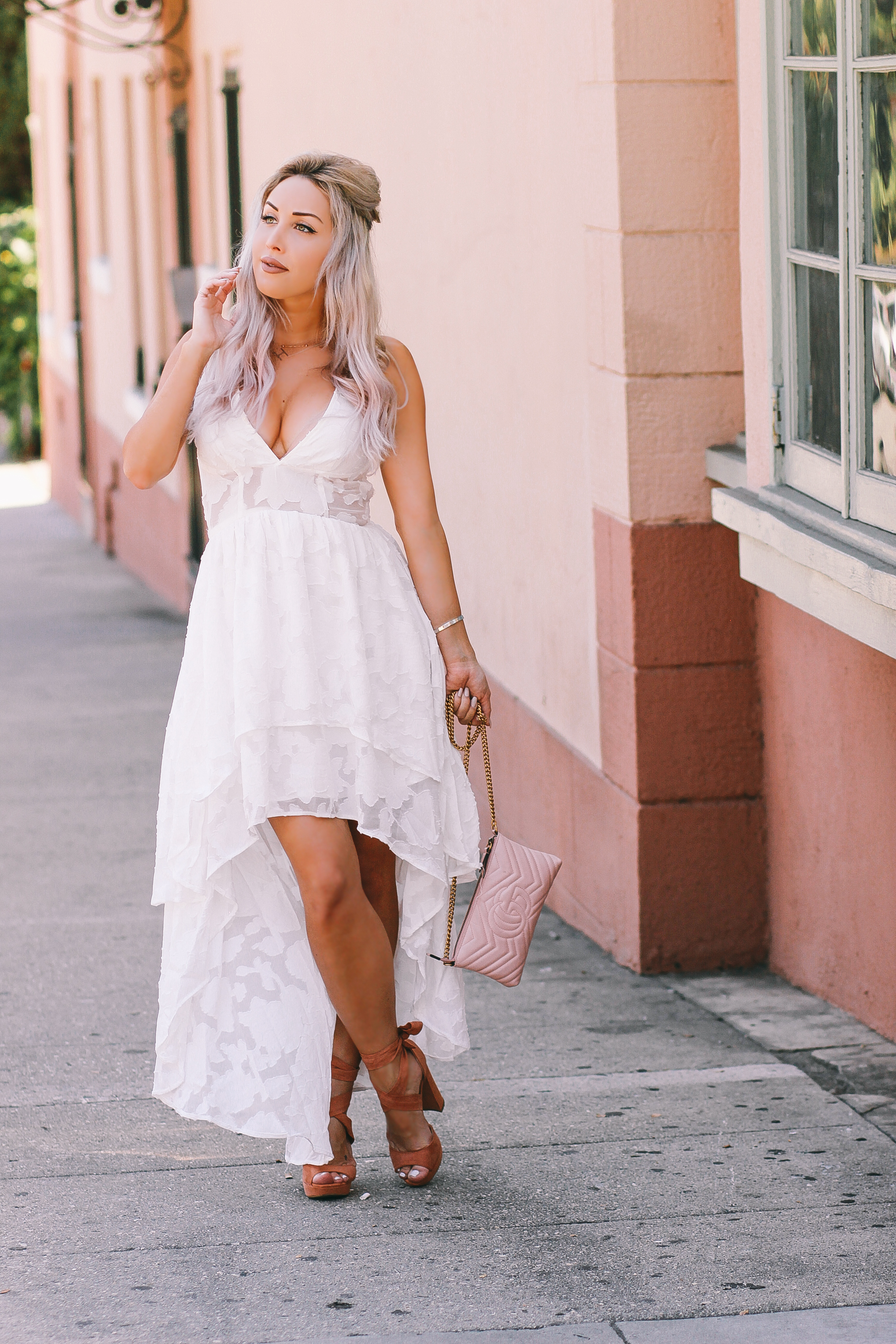 Blondie in the City | White Lace High-Low Dress | White Bridal Shower Dress