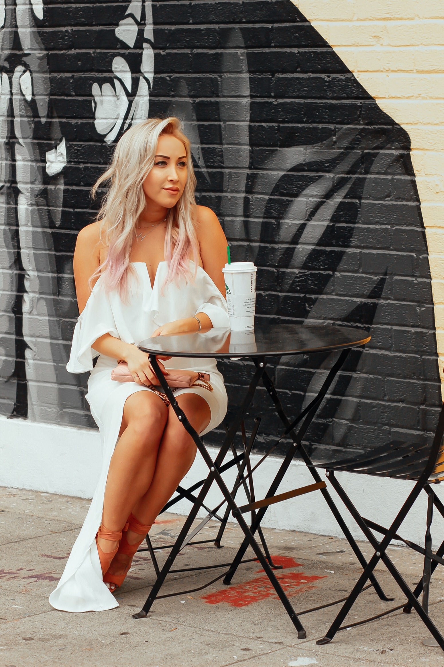 Blondie in the City | White Off the Shoulder Hi-Low Dress | Pink Gucci Bag | Summer Style