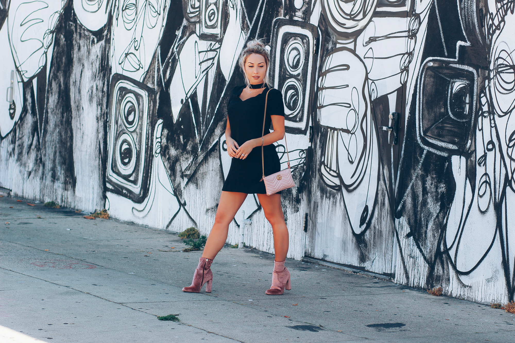 Blondie in the City | Retro Chic | Little Black Dress | Pink Gucci