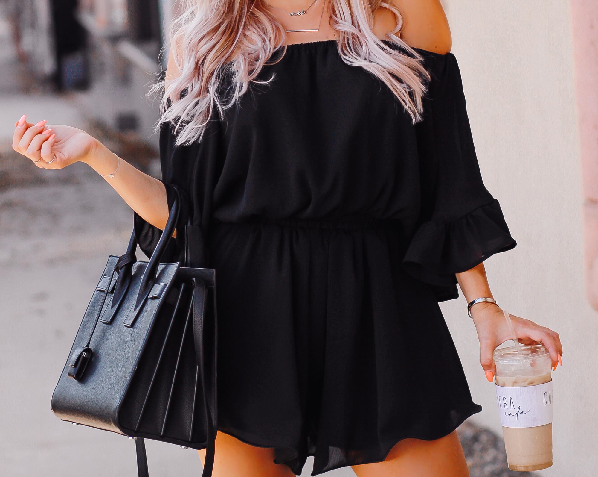 Blondie in the City | Black Airy Chiffon Romper @chicwish | Black YSL Bag | Chic Summer Style