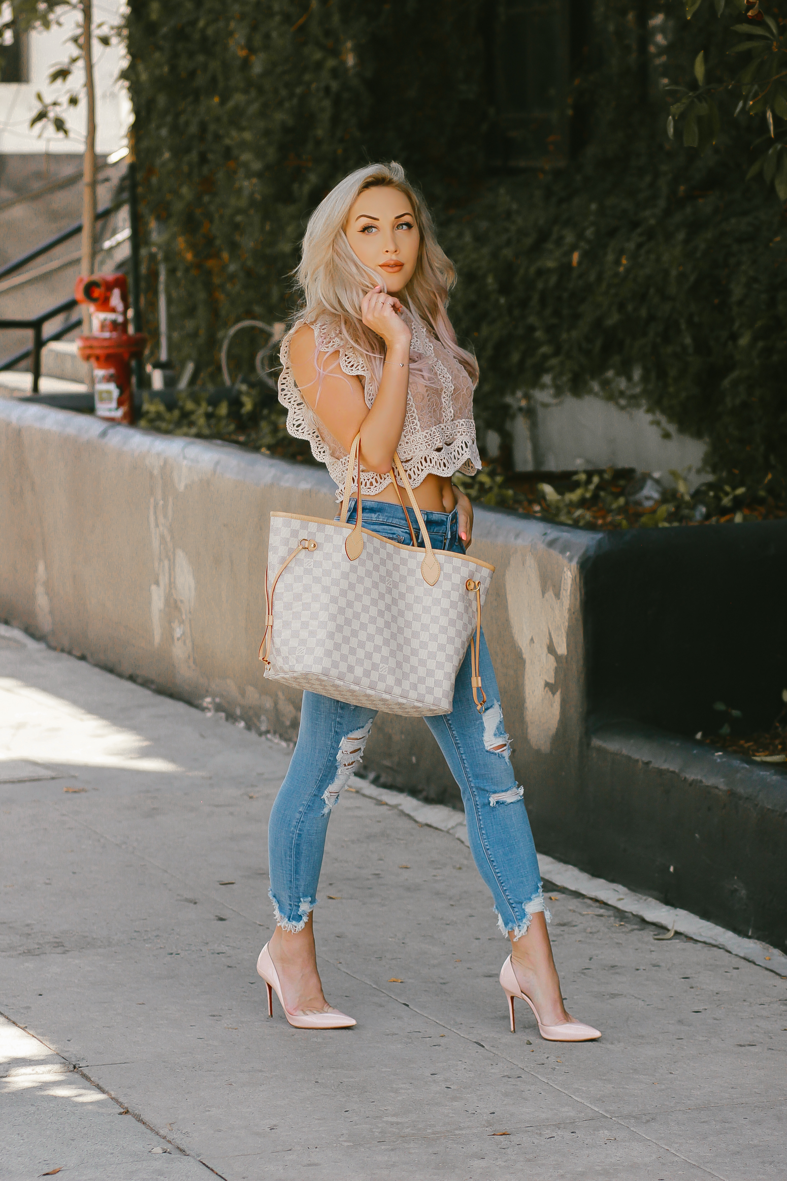 Blondie in the City |Distressed Jeans, Crochet & Lace Crop Top, Louis Vuitton Neverfull Bag