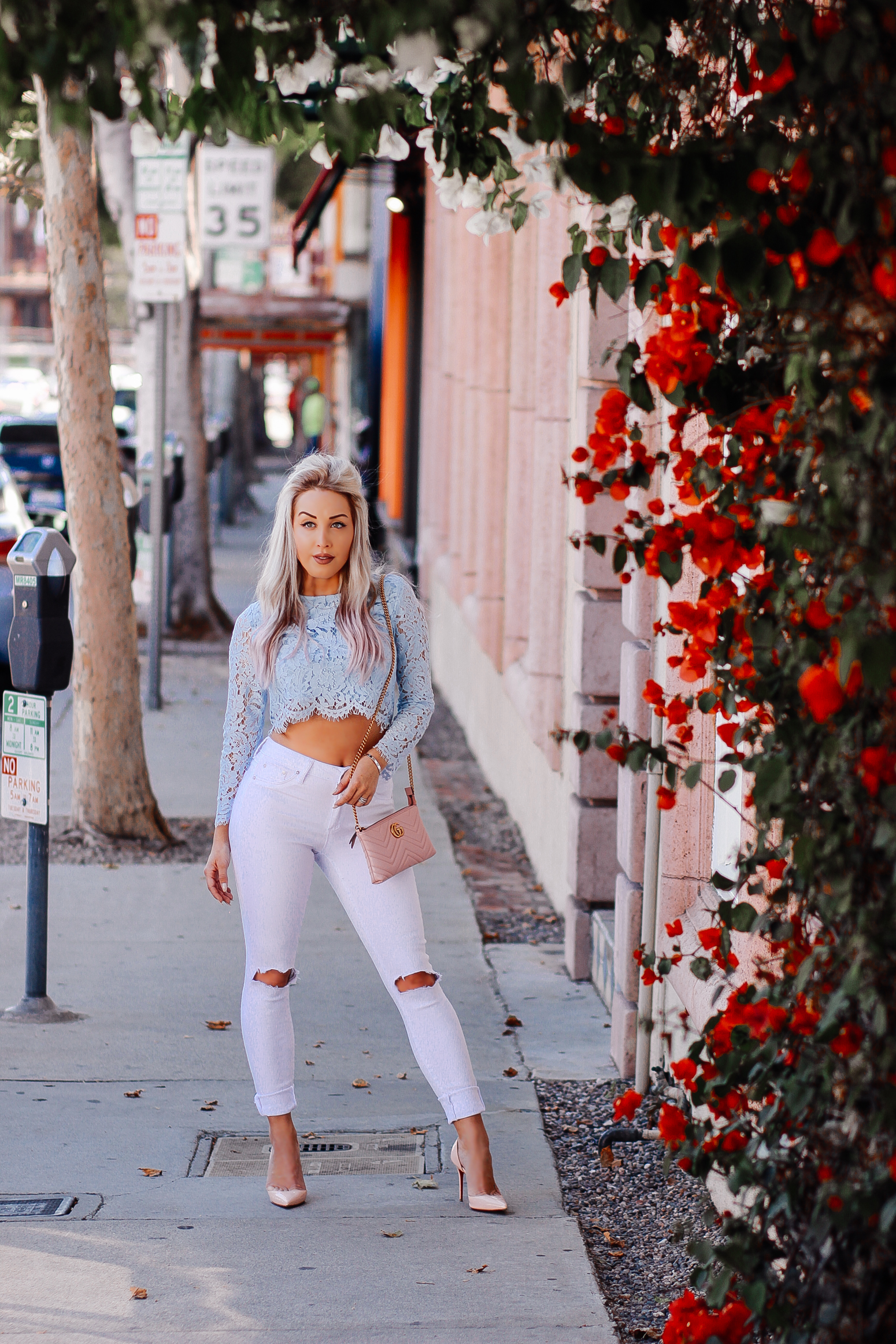 Blondie in the City | Pastel Blue Lace Crop Top, White Ripped Jeans, Pink Louboutin's, Pink Gucci Bag | LA Street Style | Fashion Bloggers
