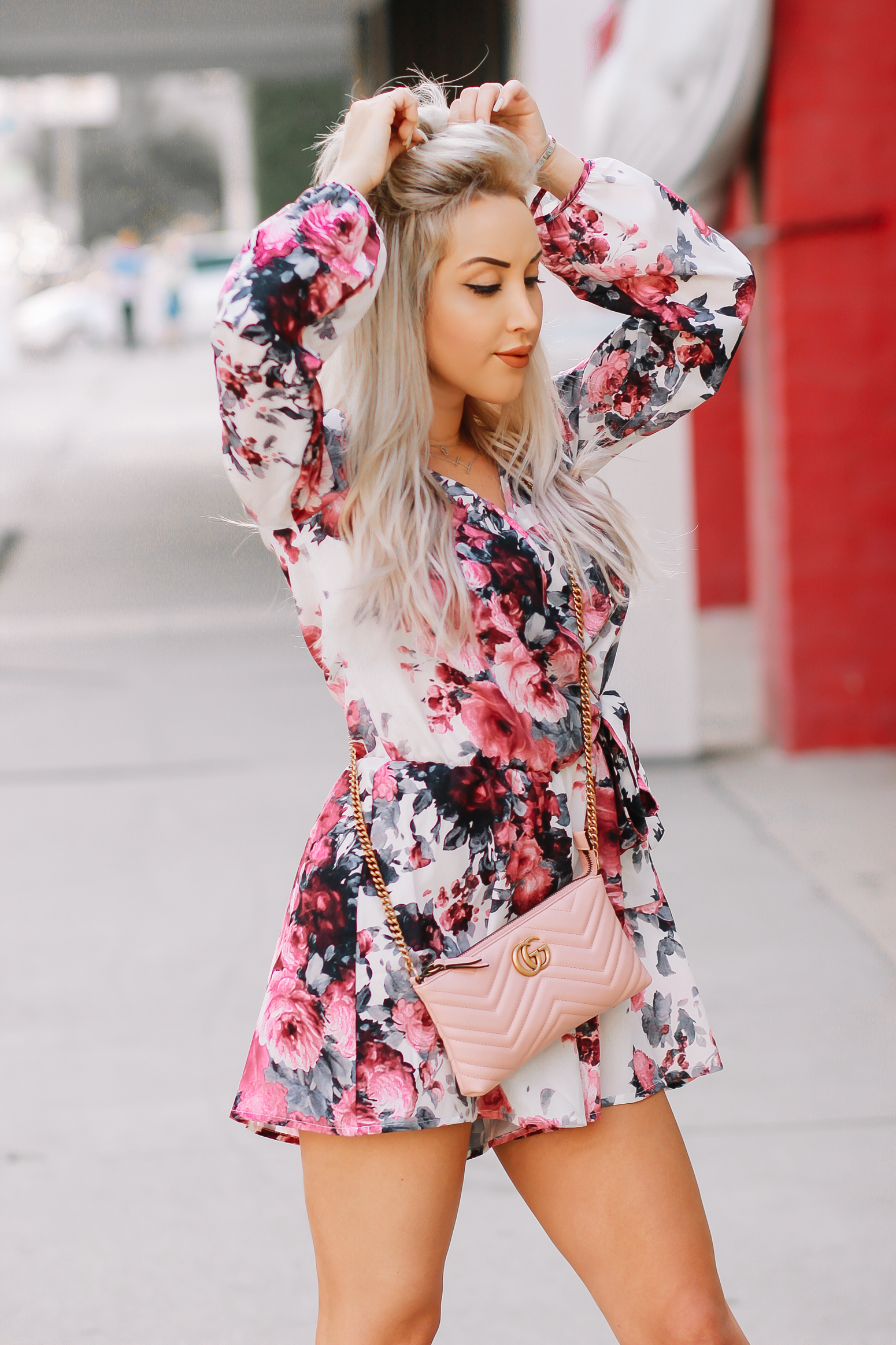 Blondie in the City | Pink Floral Summer Romper | Pink Gucci Bag