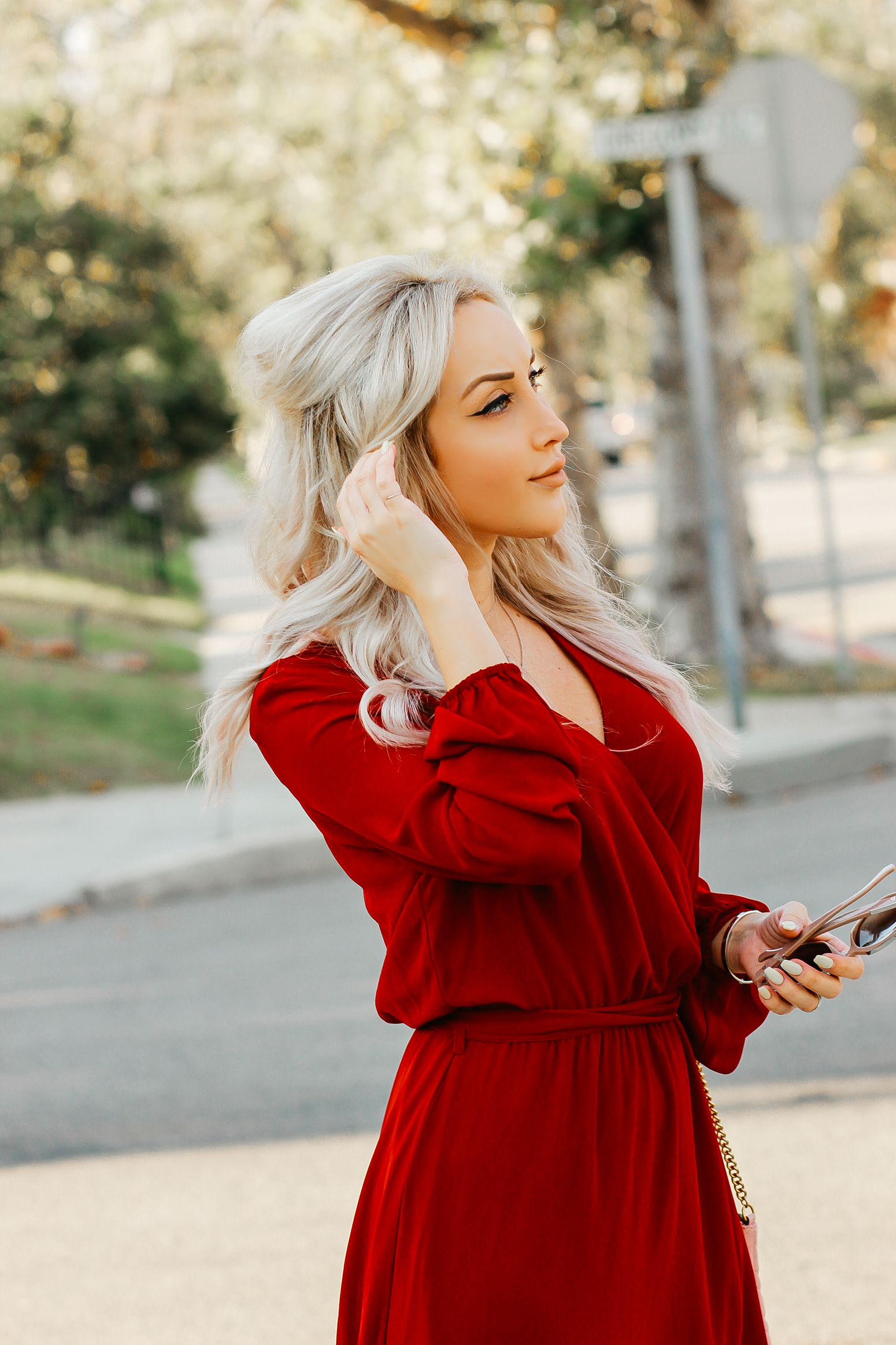 Blondie in the City   Sheer Red Maxi Dress w/ pink Gucci Bag