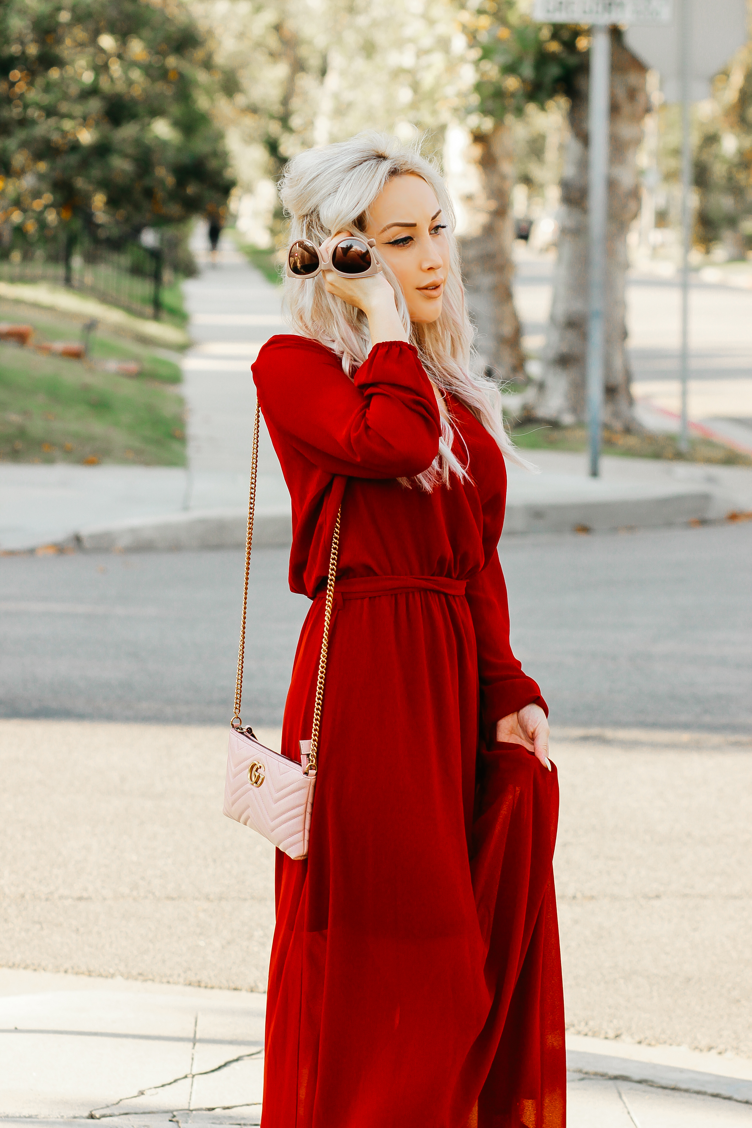 Blondie in the City | Sheer Red Maxi Dress w/ pink Gucci Bag
