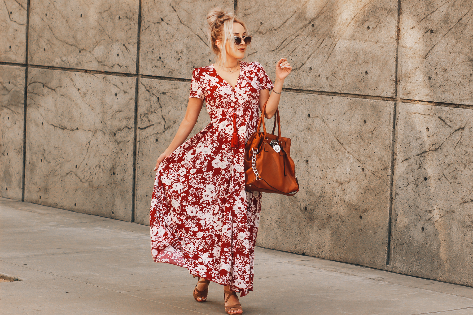 Blondie in the City | Red & White Maxi Dress