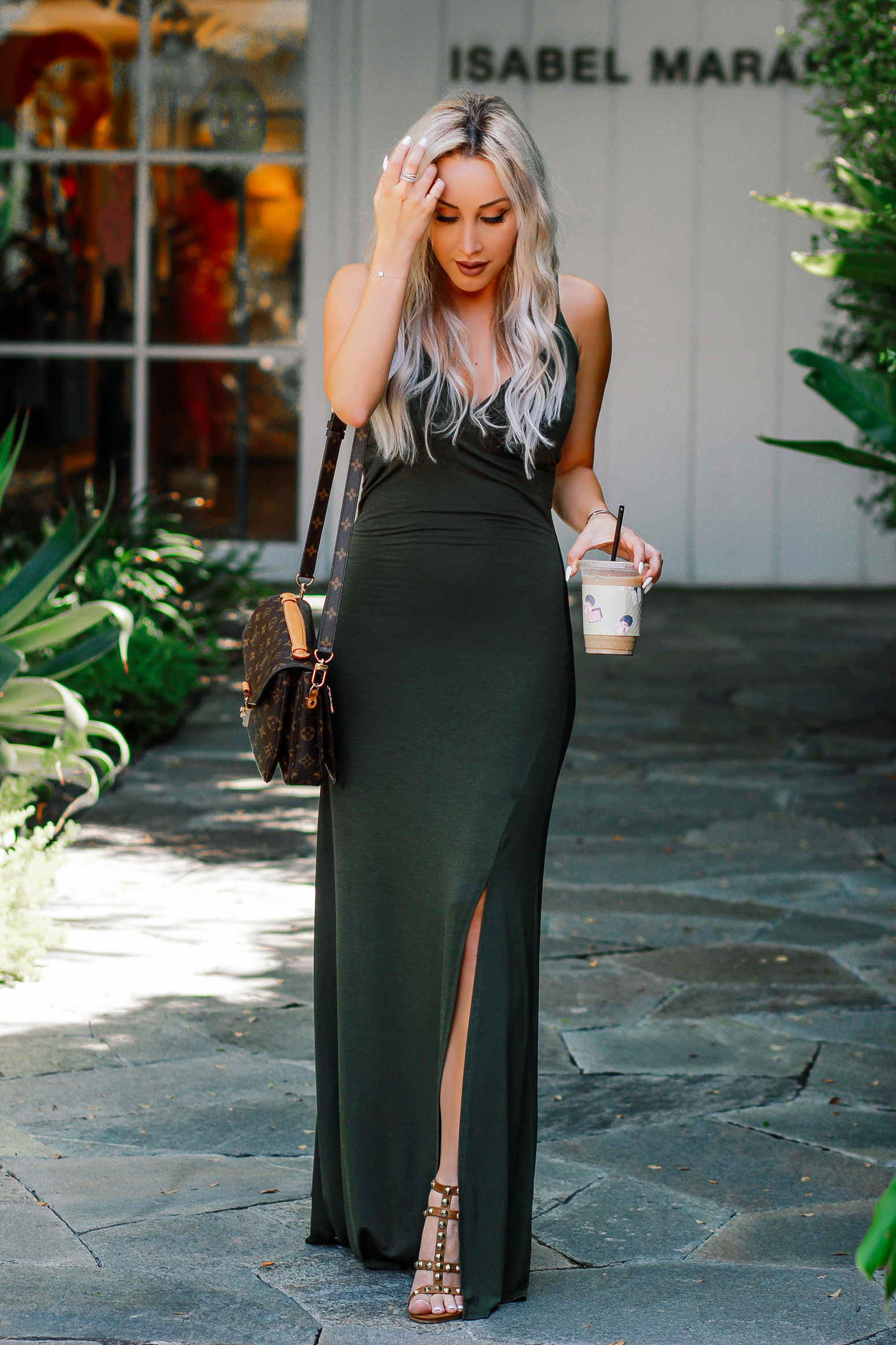 Blondie in the City | Sexy Forest Green Maxi Dress | Louis Vuitton Pochette Metis | LA Fashion Blogger