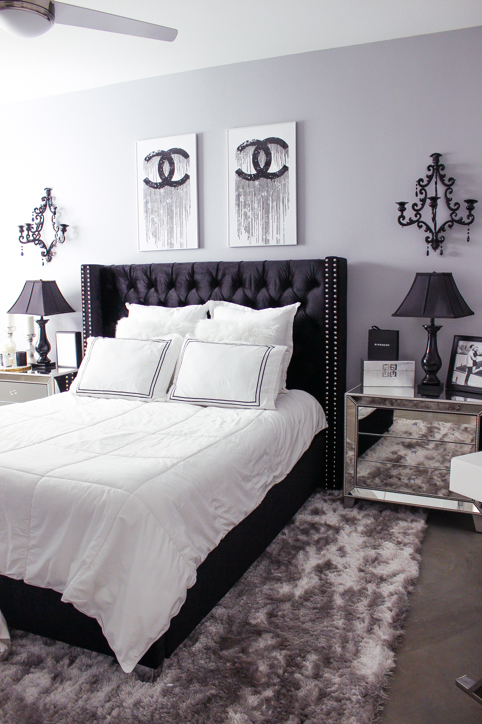Black white bedroom decor reveal for Black and white marble bedding
