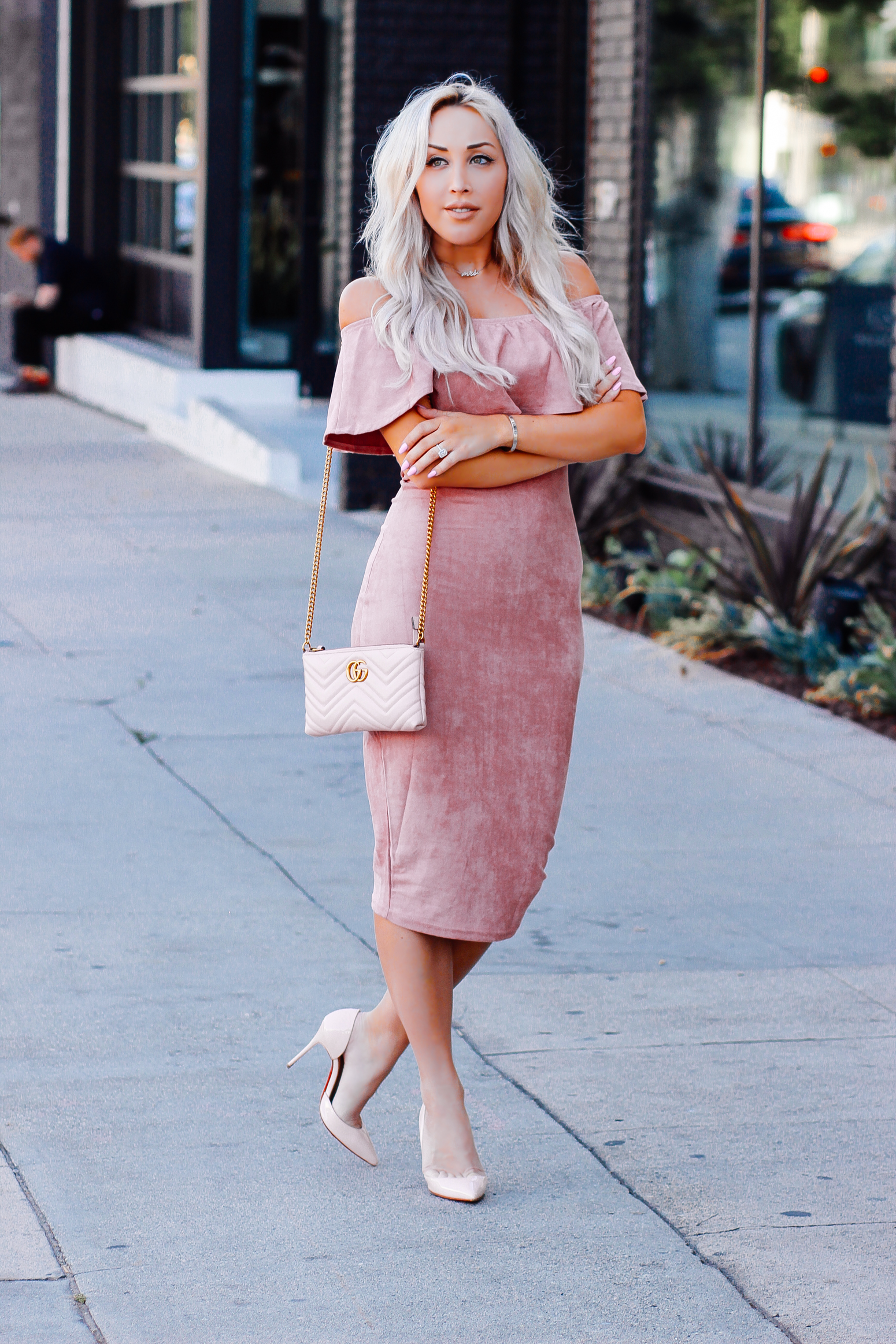 Blondie in the City | Pink Suede Off The Shoulder Dress | Pink Gucci | Pink Louboutin's