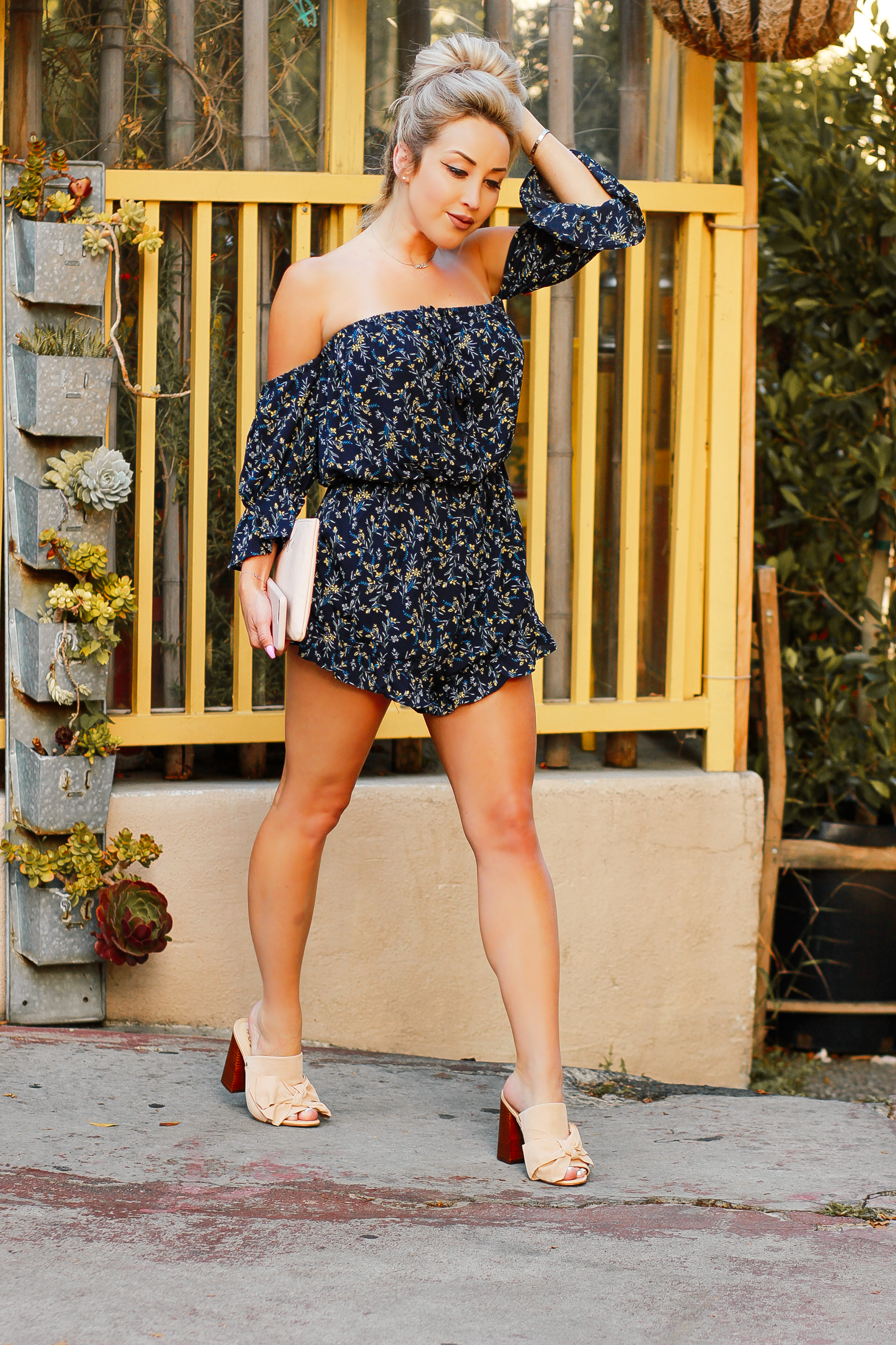 Blondie in the City | Navy Blue, Yellow Floral Romper | Summer Fashion | Cute Summer Outfit