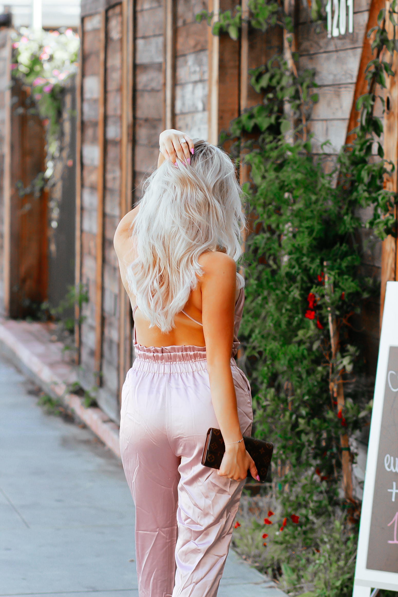 Blondie in the City | Pink Rose Colored Satin jumpsuit | Pink Louboutin's