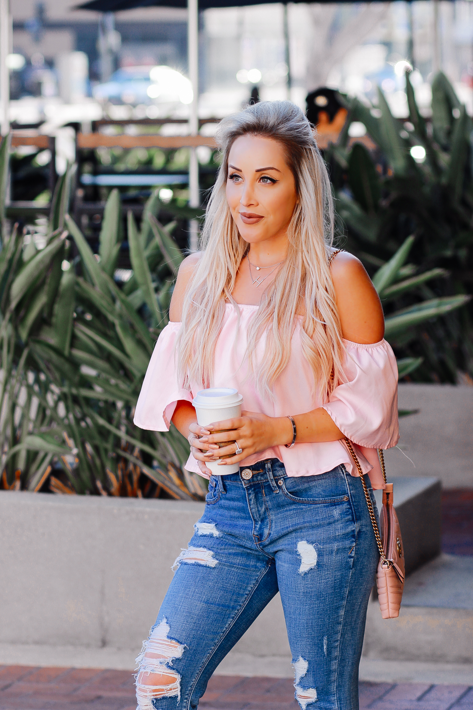Blondie in the City | Ripped Denim, Pink Off The Shoulder Top, Pink Loafers