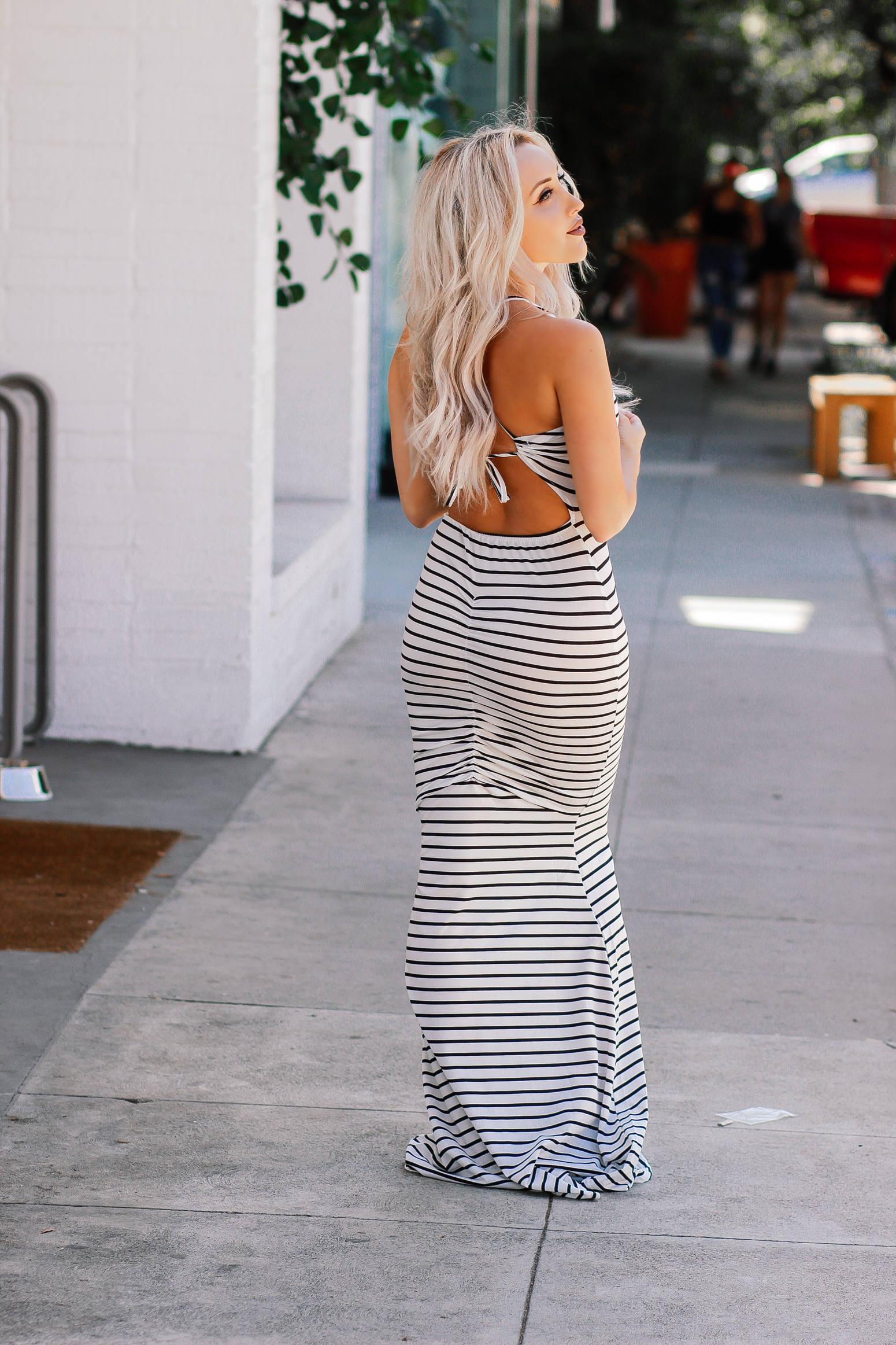 Blondie in the City | Striped Backless Maxi Dress | Long Blonde Hair