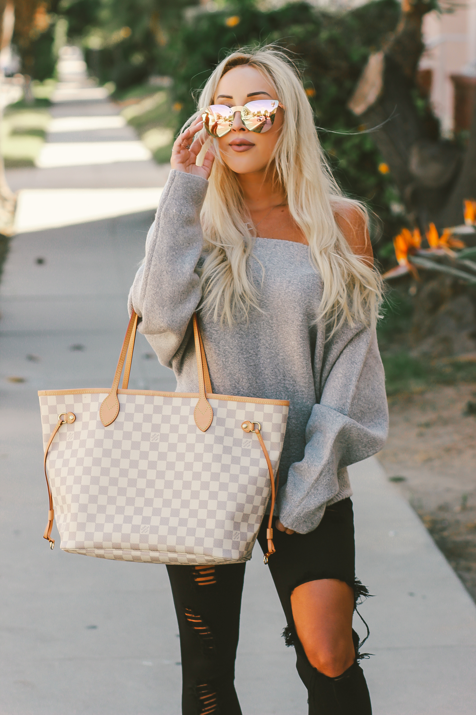 Blondie in the City | Fall Fashion Off The Shoulder Sweater, Louis Vuitton Neverfull MM | Pink Loafers, Pink Mirrored Sunglasses