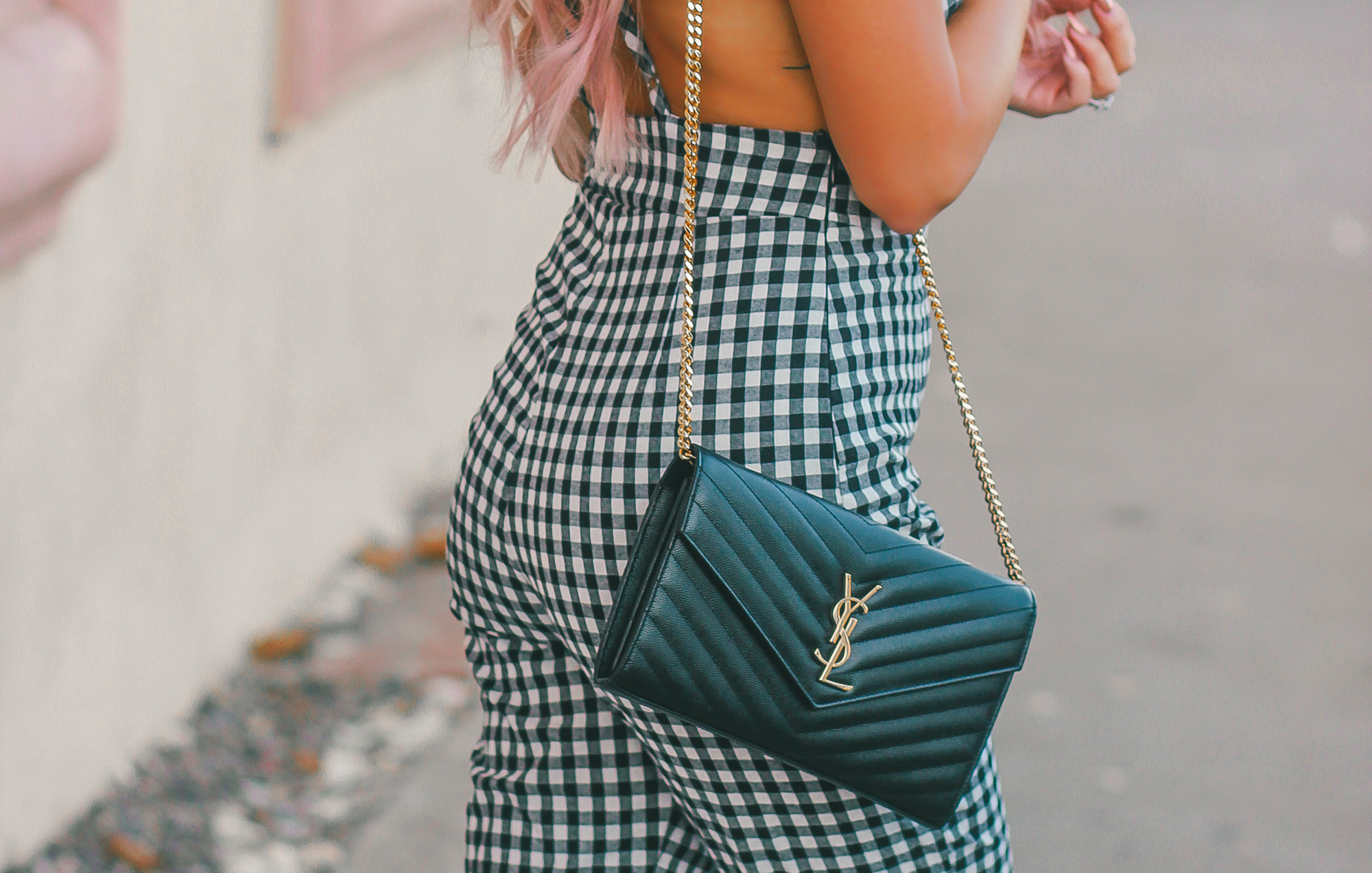 Blondie in the City | Checkered Jumpsuit | Rebecca Minkoff Flats | YSL Crossbody